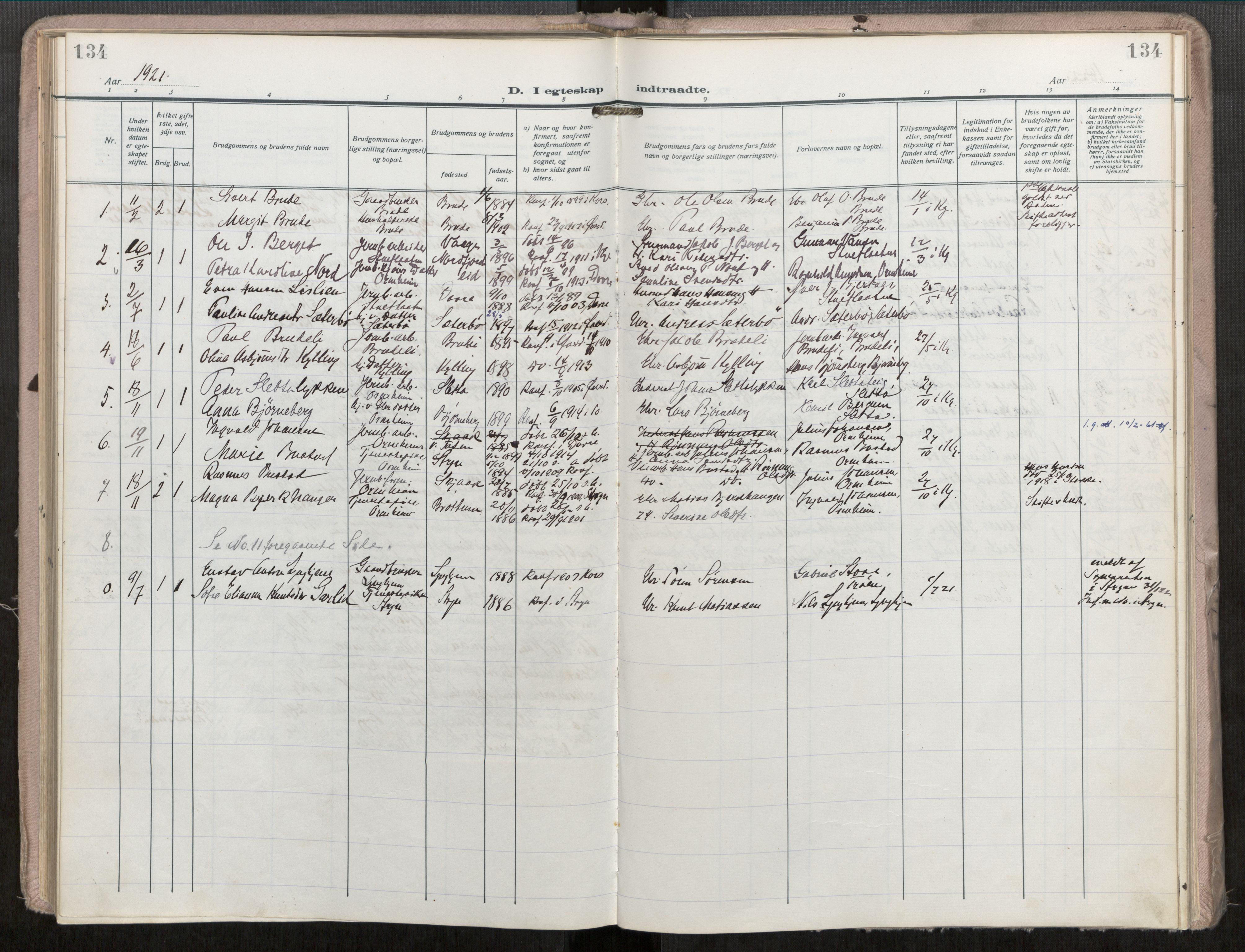 SAT, Grytten sokneprestkontor, Ministerialbok nr. 546A04, 1919-1956, s. 134