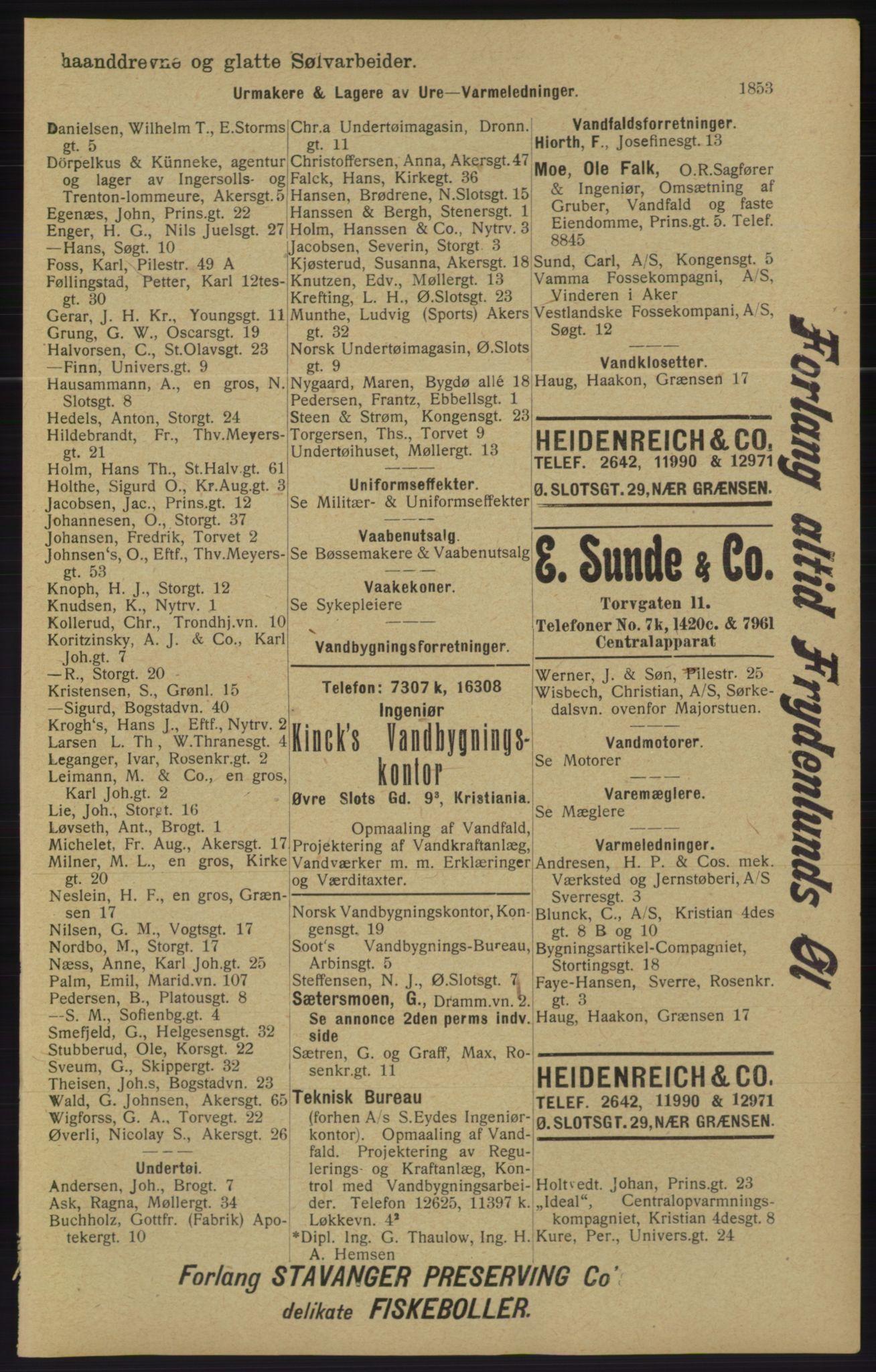 RA, Kristiania adressebok (publikasjon)*, 1913, s. 1853