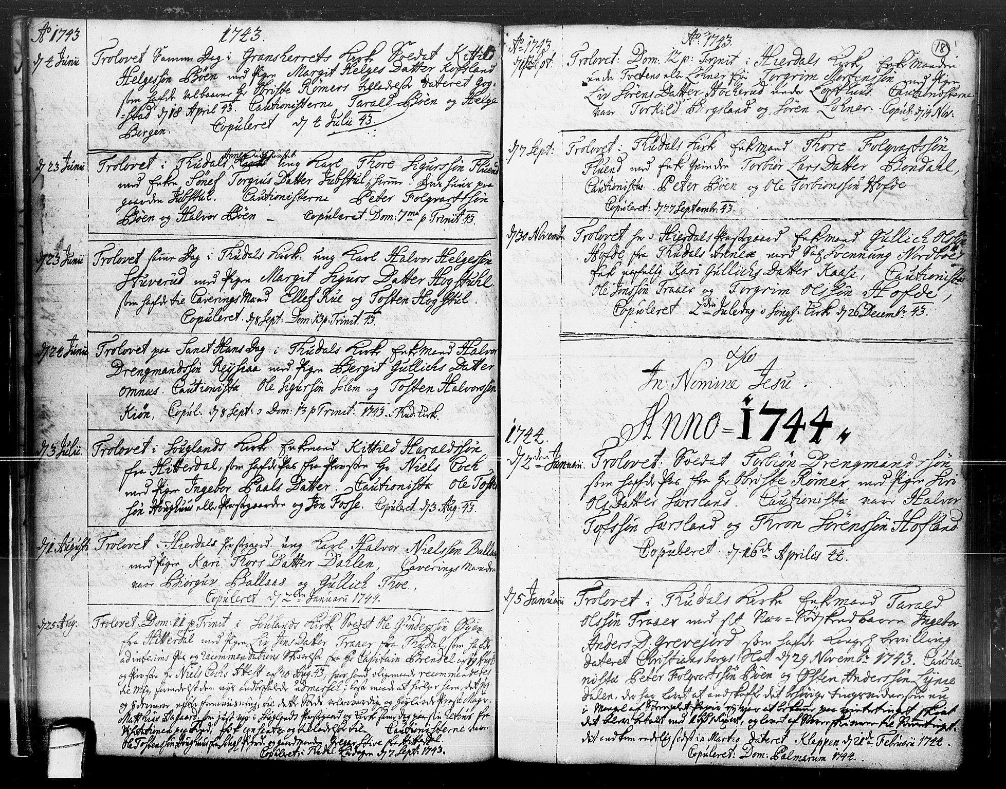 SAKO, Hjartdal kirkebøker, F/Fa/L0004: Ministerialbok nr. I 4, 1727-1795, s. 18