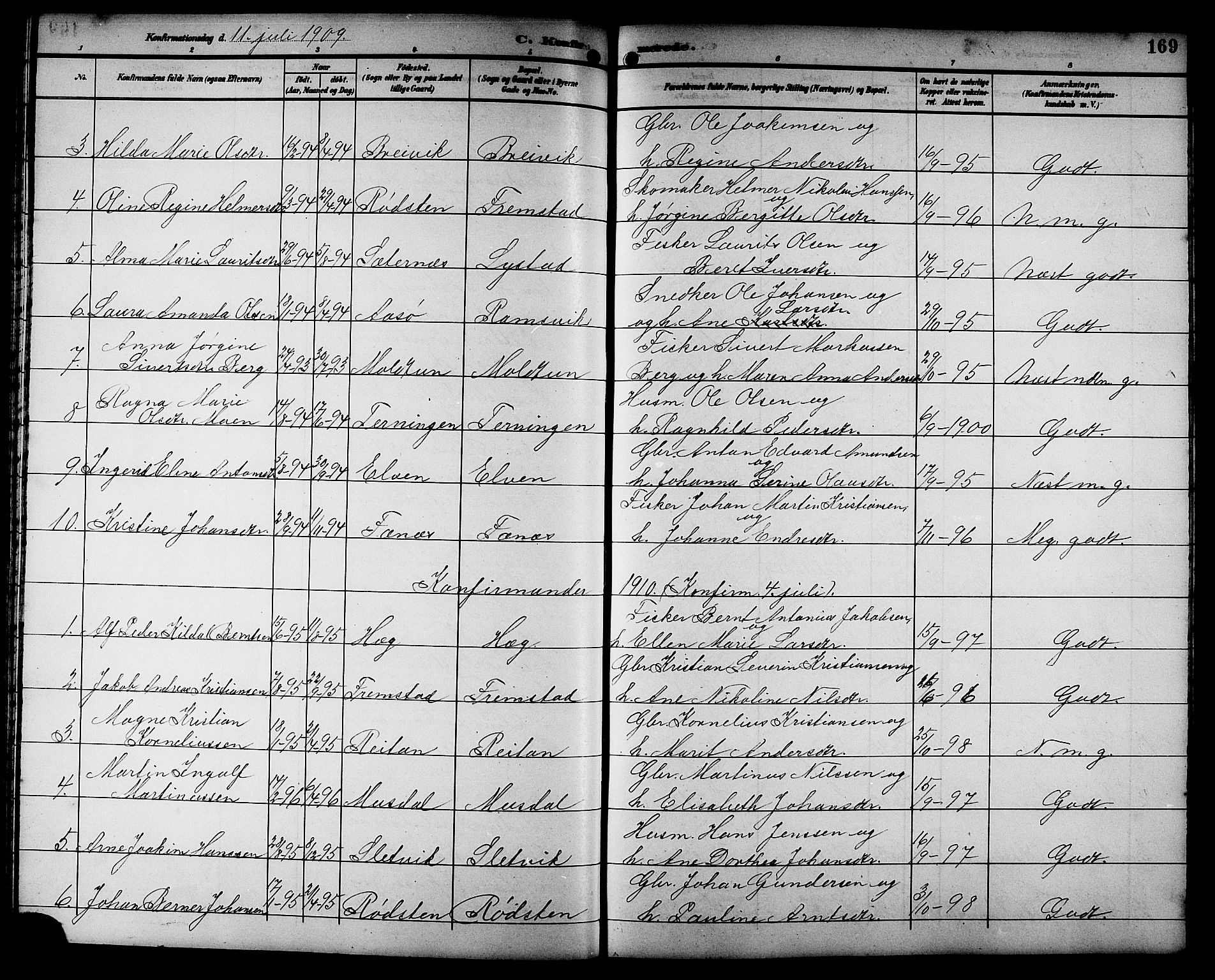 SAT, Ministerialprotokoller, klokkerbøker og fødselsregistre - Sør-Trøndelag, 662/L0757: Klokkerbok nr. 662C02, 1892-1918, s. 169