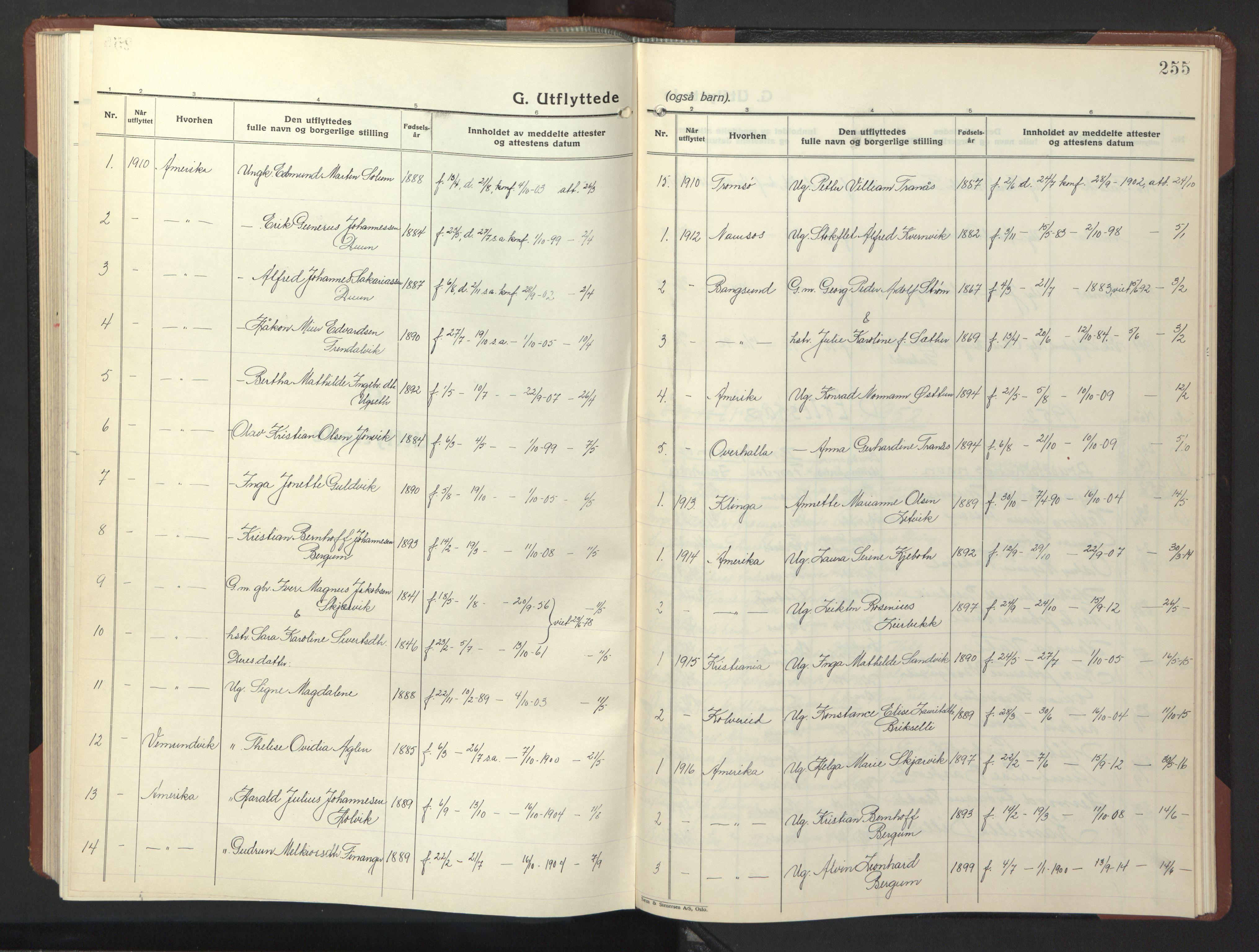 SAT, Ministerialprotokoller, klokkerbøker og fødselsregistre - Nord-Trøndelag, 773/L0625: Klokkerbok nr. 773C01, 1910-1952, s. 255