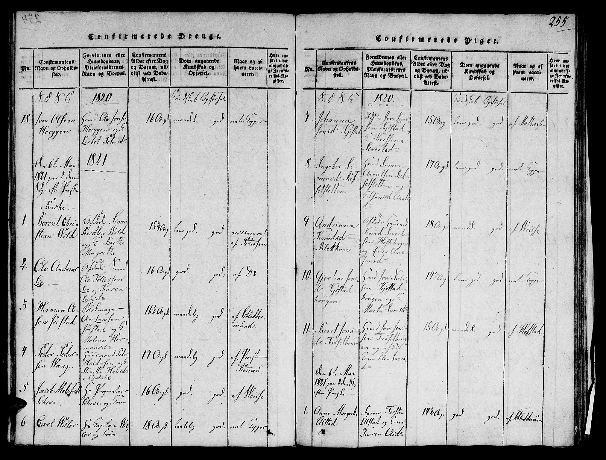 SAT, Ministerialprotokoller, klokkerbøker og fødselsregistre - Sør-Trøndelag, 606/L0283: Ministerialbok nr. 606A03 /1, 1818-1823, s. 255