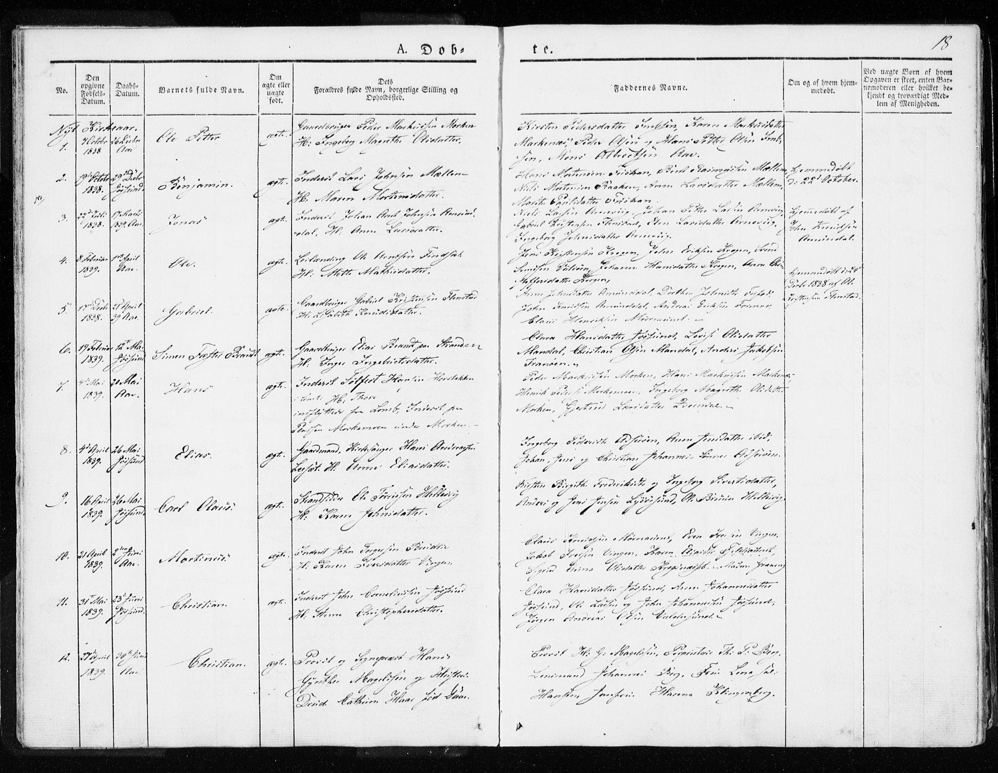 SAT, Ministerialprotokoller, klokkerbøker og fødselsregistre - Sør-Trøndelag, 655/L0676: Ministerialbok nr. 655A05, 1830-1847, s. 18