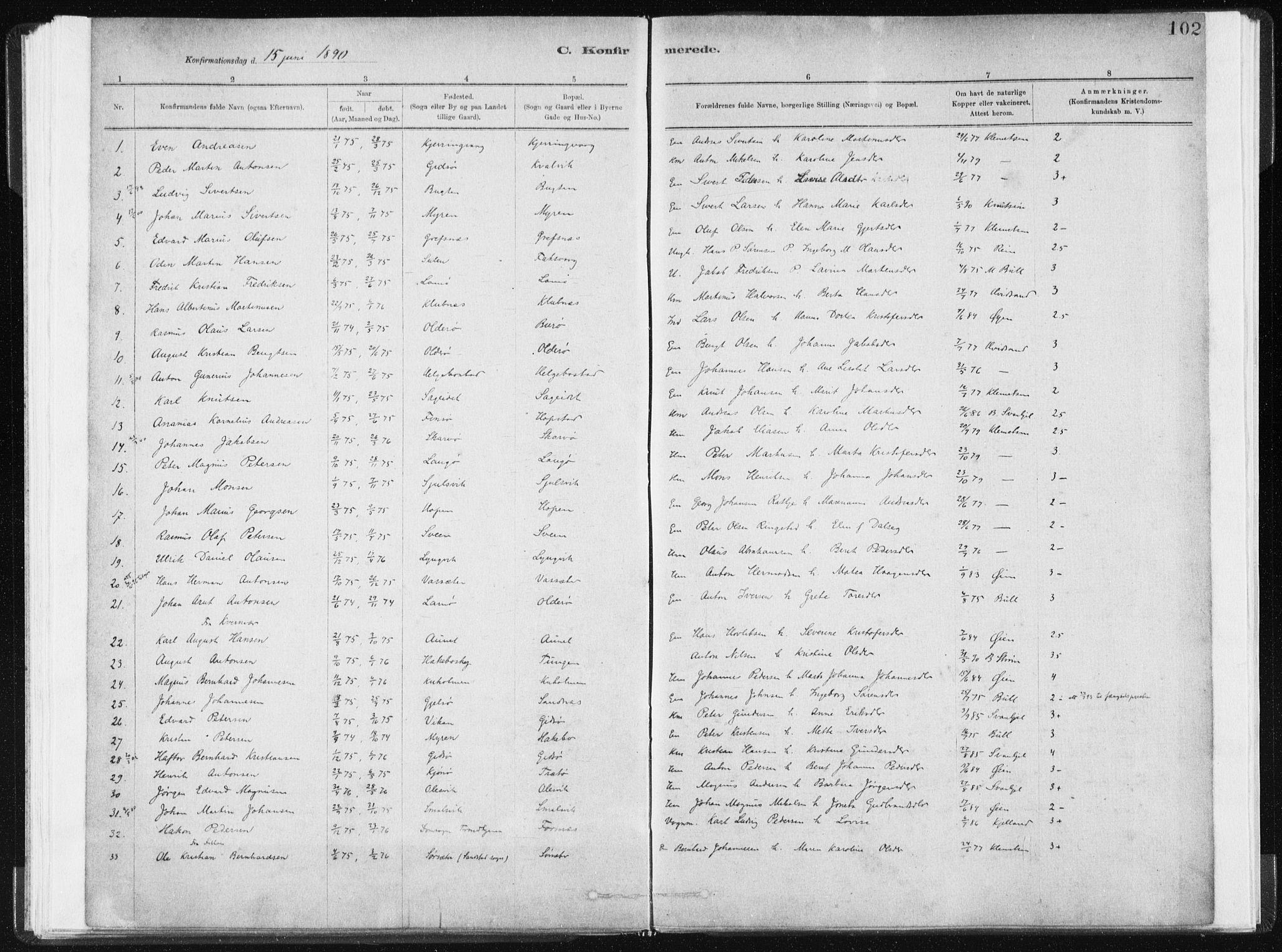 SAT, Ministerialprotokoller, klokkerbøker og fødselsregistre - Sør-Trøndelag, 634/L0533: Ministerialbok nr. 634A09, 1882-1901, s. 102