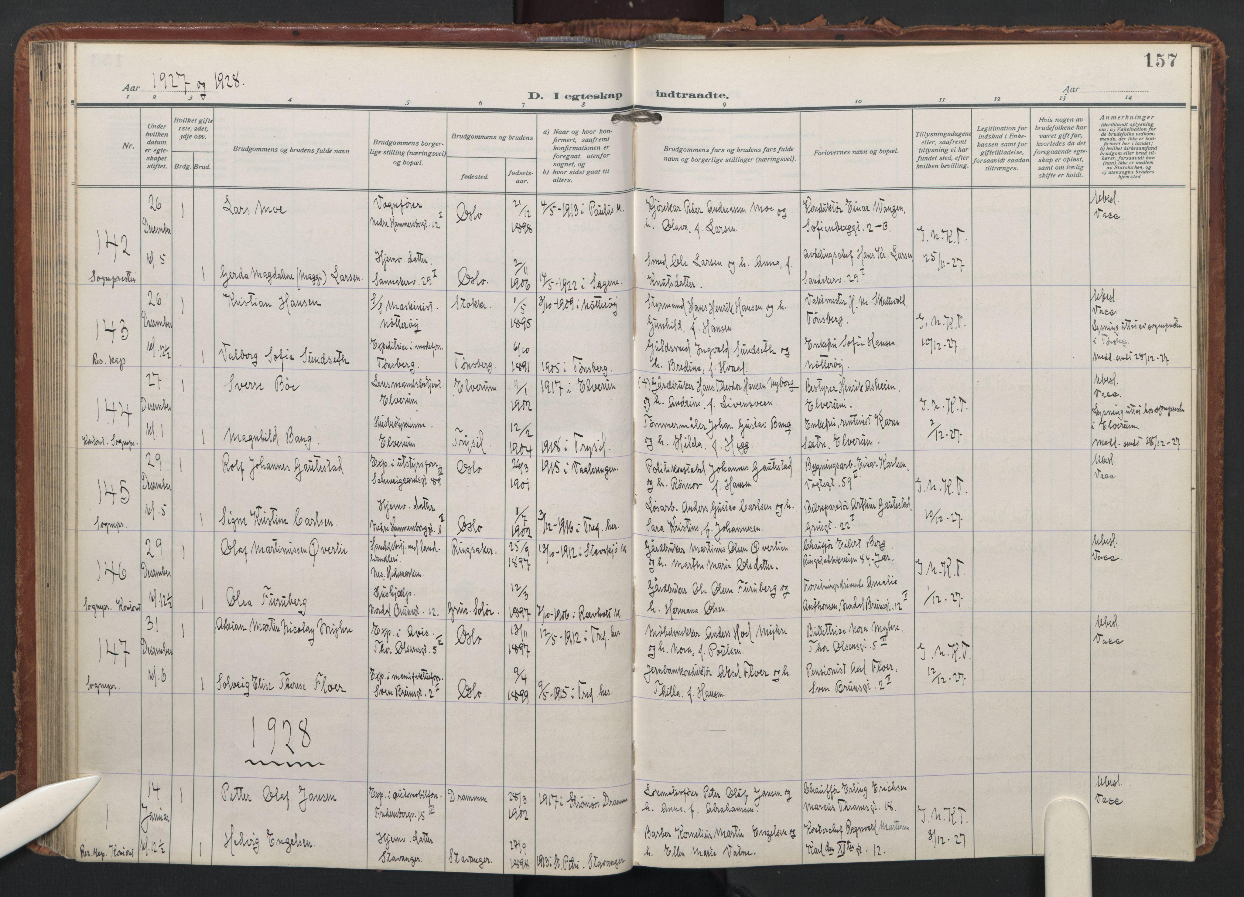 SAO, Trefoldighet prestekontor Kirkebøker, F/Fc/L0009: Ministerialbok nr. III 9, 1922-1936, s. 157