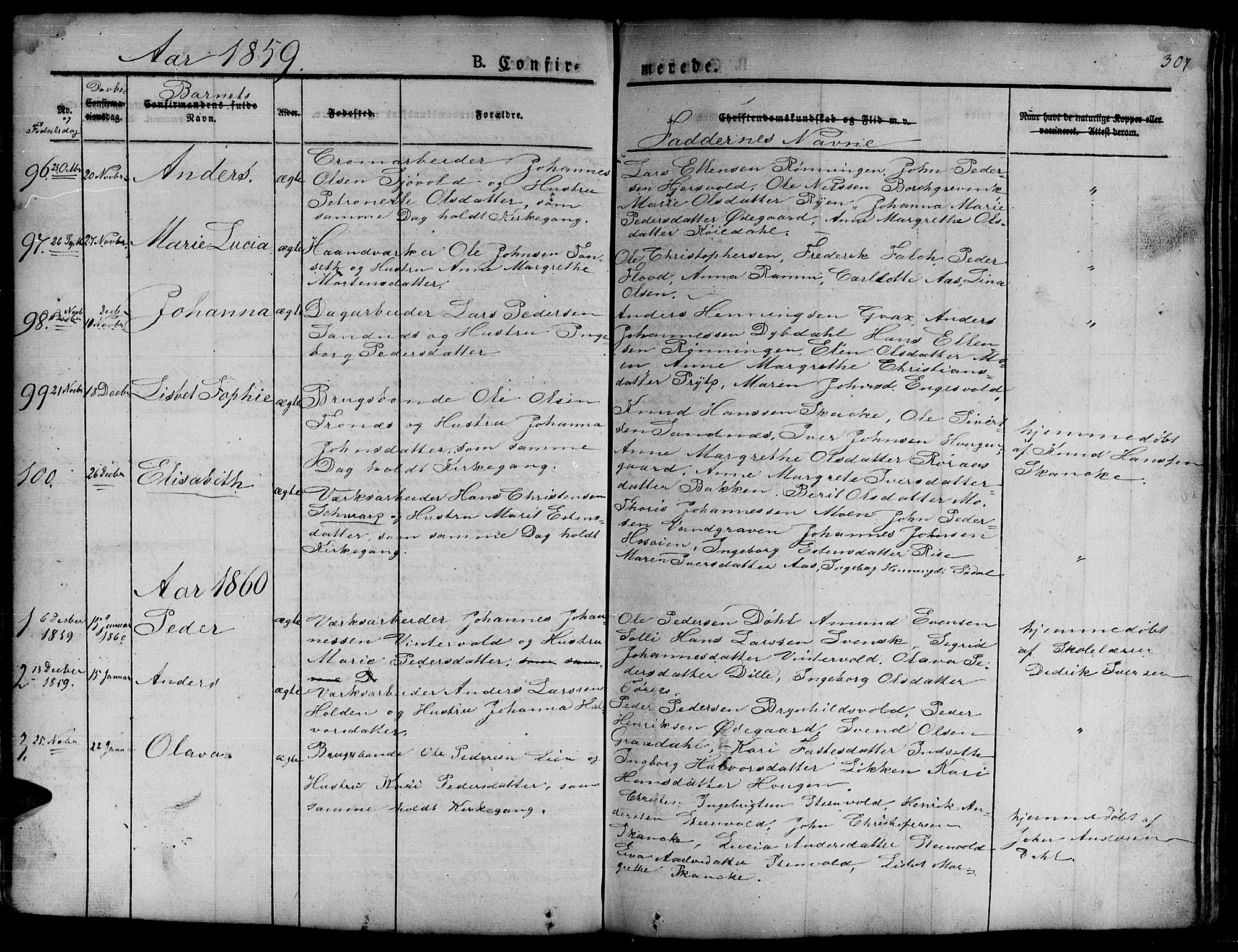 SAT, Ministerialprotokoller, klokkerbøker og fødselsregistre - Sør-Trøndelag, 681/L0938: Klokkerbok nr. 681C02, 1829-1879, s. 307
