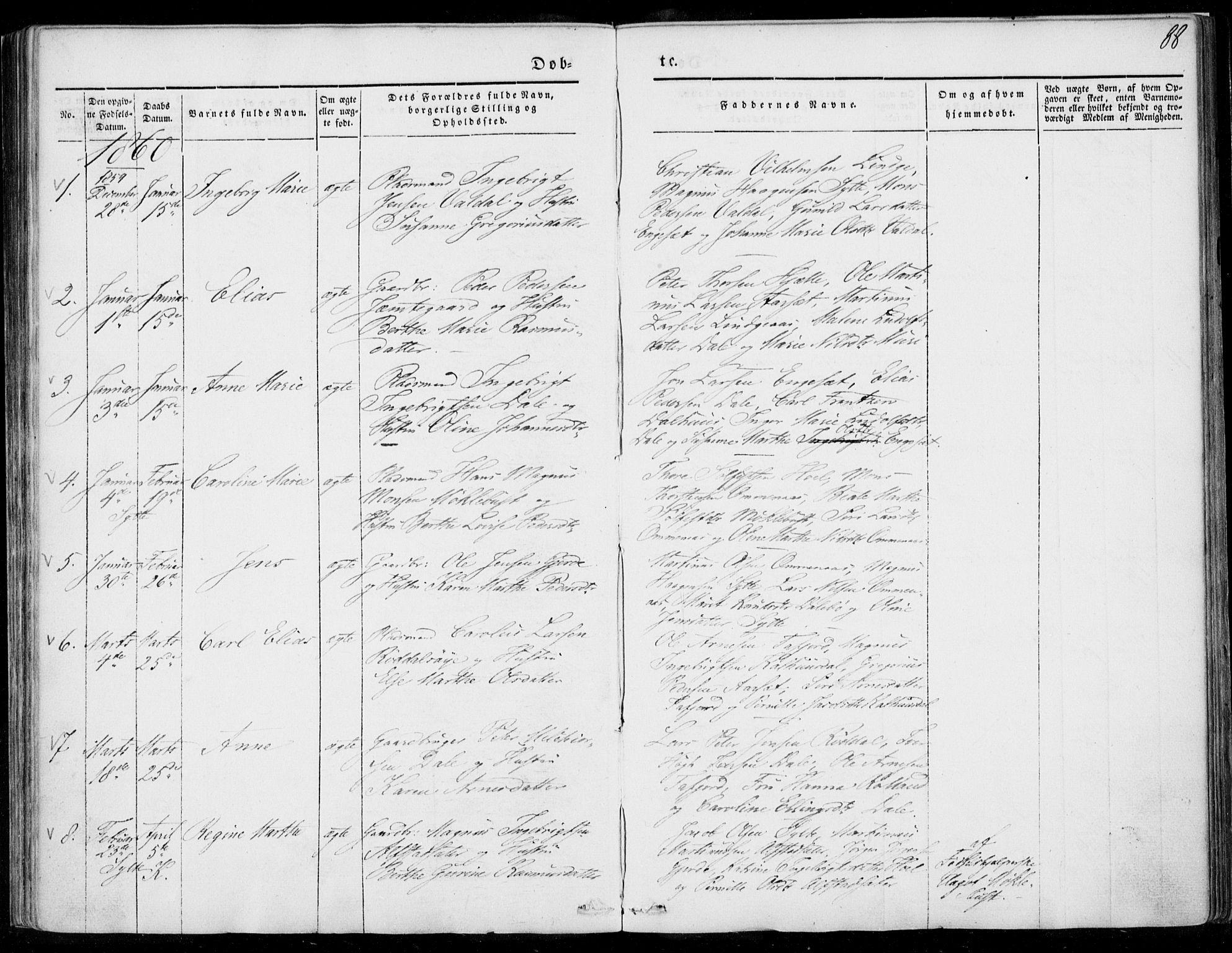 SAT, Ministerialprotokoller, klokkerbøker og fødselsregistre - Møre og Romsdal, 519/L0249: Ministerialbok nr. 519A08, 1846-1868, s. 88