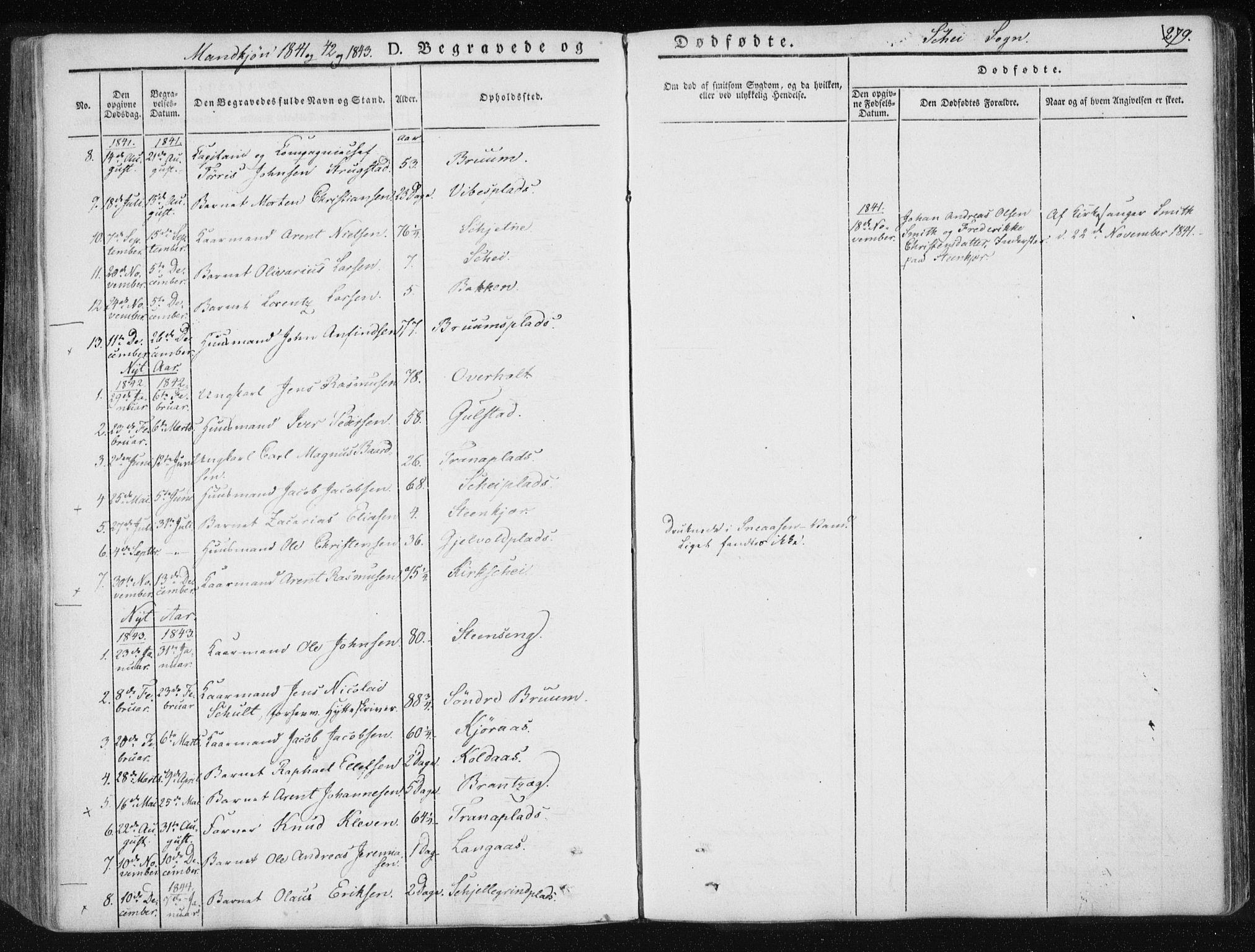 SAT, Ministerialprotokoller, klokkerbøker og fødselsregistre - Nord-Trøndelag, 735/L0339: Ministerialbok nr. 735A06 /2, 1836-1848, s. 279