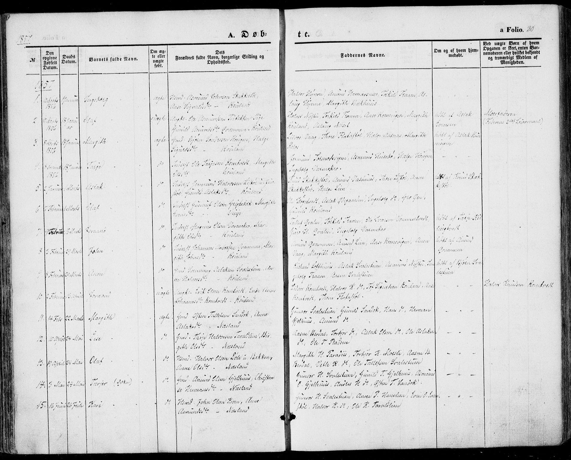 SAKO, Vinje kirkebøker, F/Fa/L0004: Ministerialbok nr. I 4, 1843-1869, s. 80