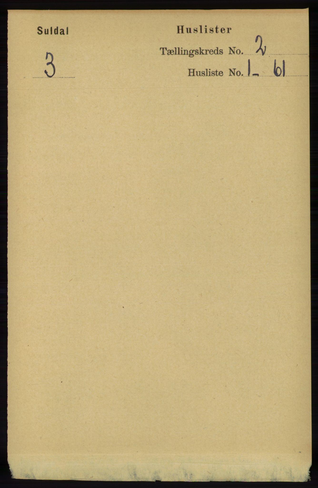RA, Folketelling 1891 for 1134 Suldal herred, 1891, s. 194