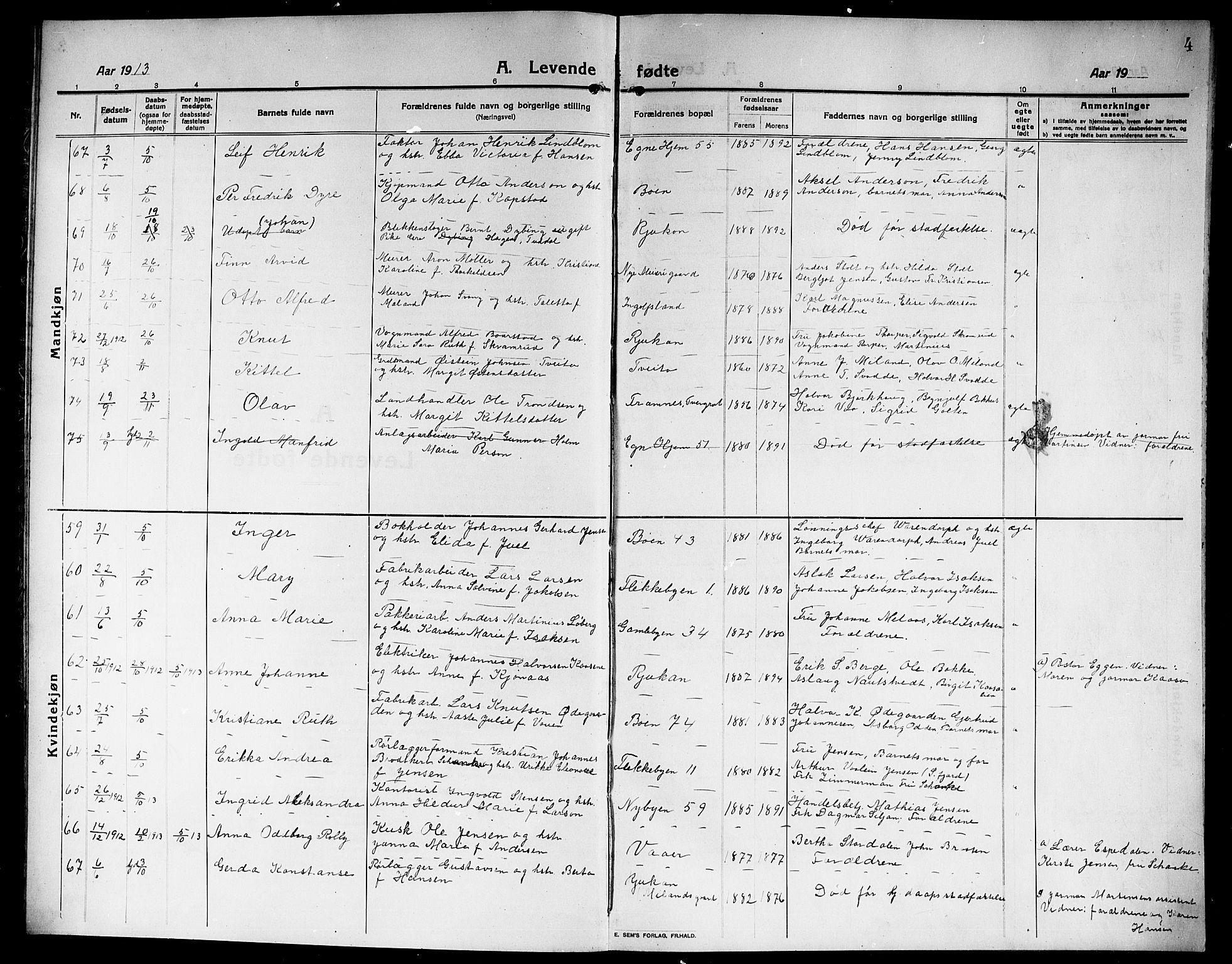 SAKO, Rjukan kirkebøker, G/Ga/L0002: Klokkerbok nr. 2, 1913-1920, s. 4