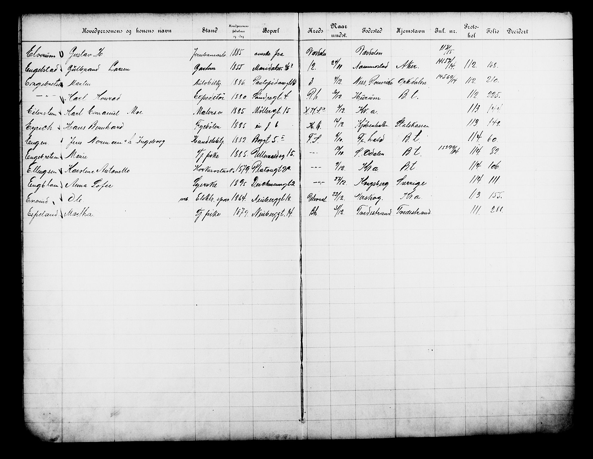 OBA, Fattigvesenet, Fb/L0033: Hjemstavnsregister, 1914, s. 259