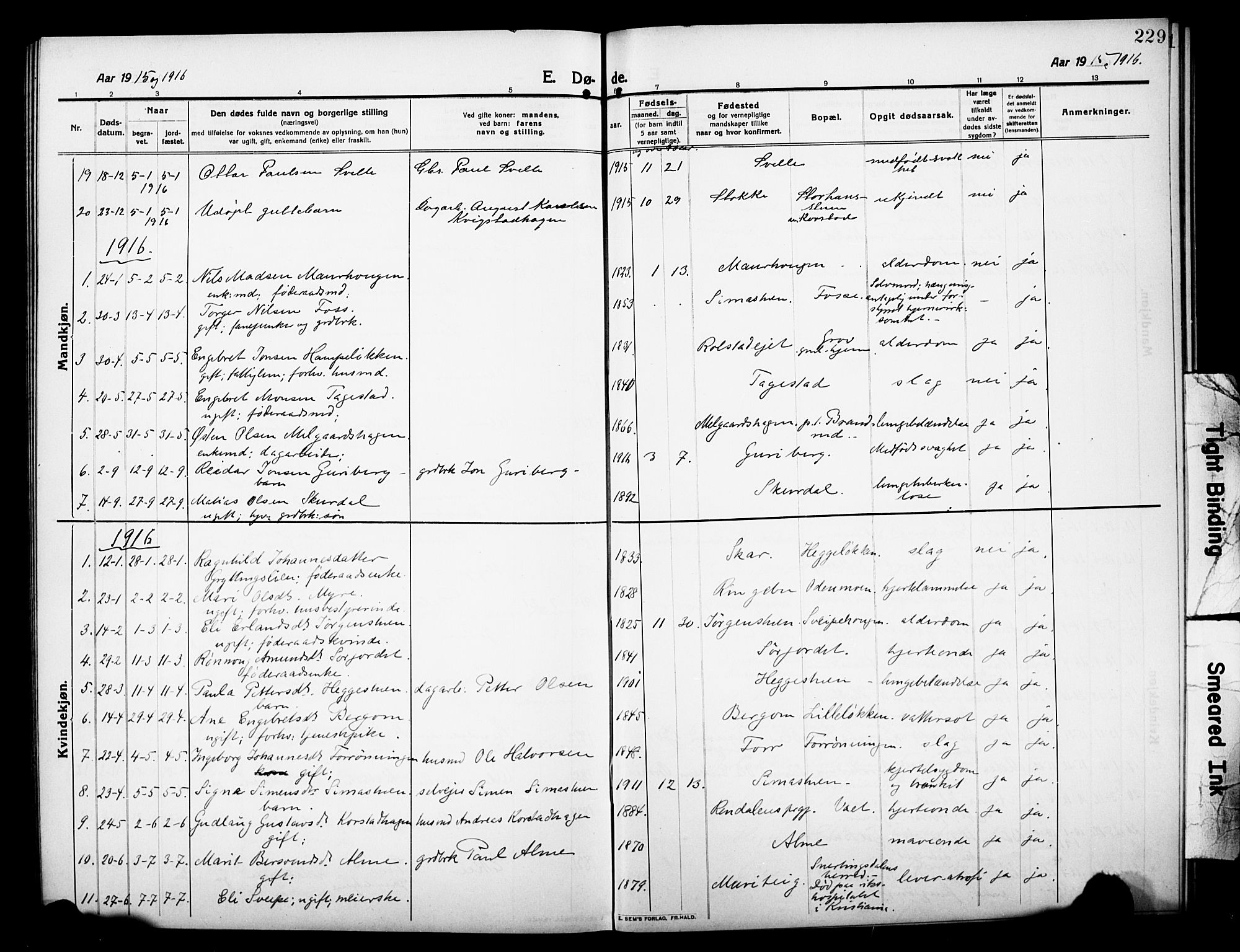 SAH, Sør-Fron prestekontor, H/Ha/Hab/L0005: Klokkerbok nr. 5, 1912-1930, s. 229