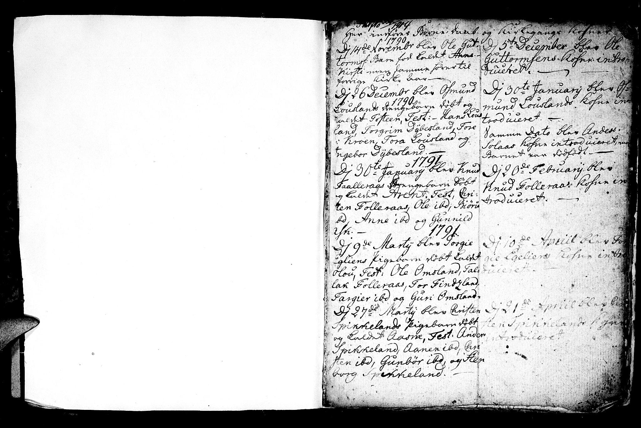 SAK, Bjelland sokneprestkontor, F/Fb/Fbb/L0002: Klokkerbok nr. B 2, 1790-1826, s. 1