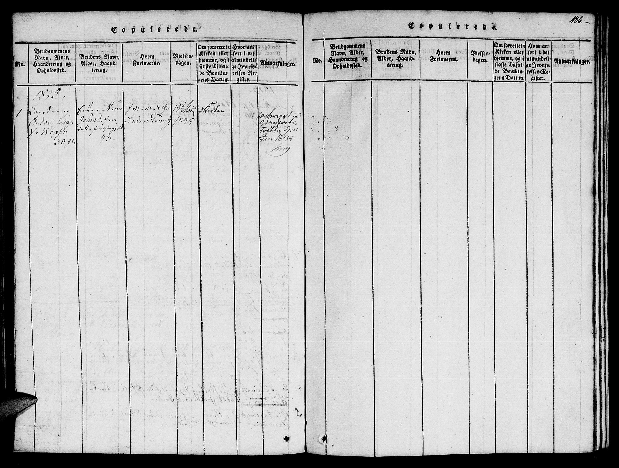 SAT, Ministerialprotokoller, klokkerbøker og fødselsregistre - Nord-Trøndelag, 759/L0527: Klokkerbok nr. 759C01 /1, 1816-1825, s. 186