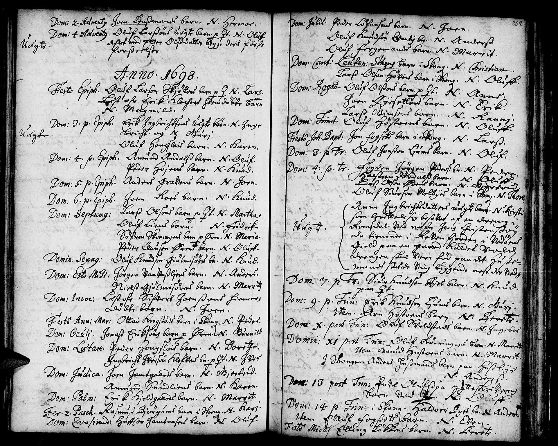 SAT, Ministerialprotokoller, klokkerbøker og fødselsregistre - Sør-Trøndelag, 668/L0801: Ministerialbok nr. 668A01, 1695-1716, s. 268-269