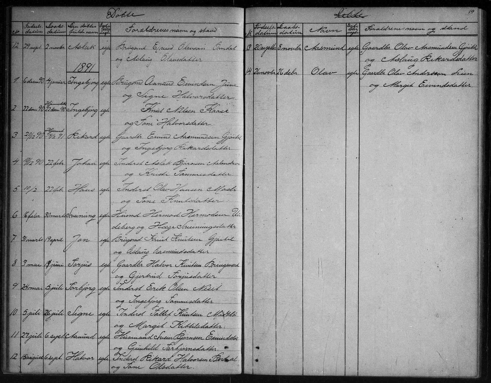 SAKO, Vinje kirkebøker, G/Gb/L0002: Klokkerbok nr. II 2, 1849-1891, s. 19