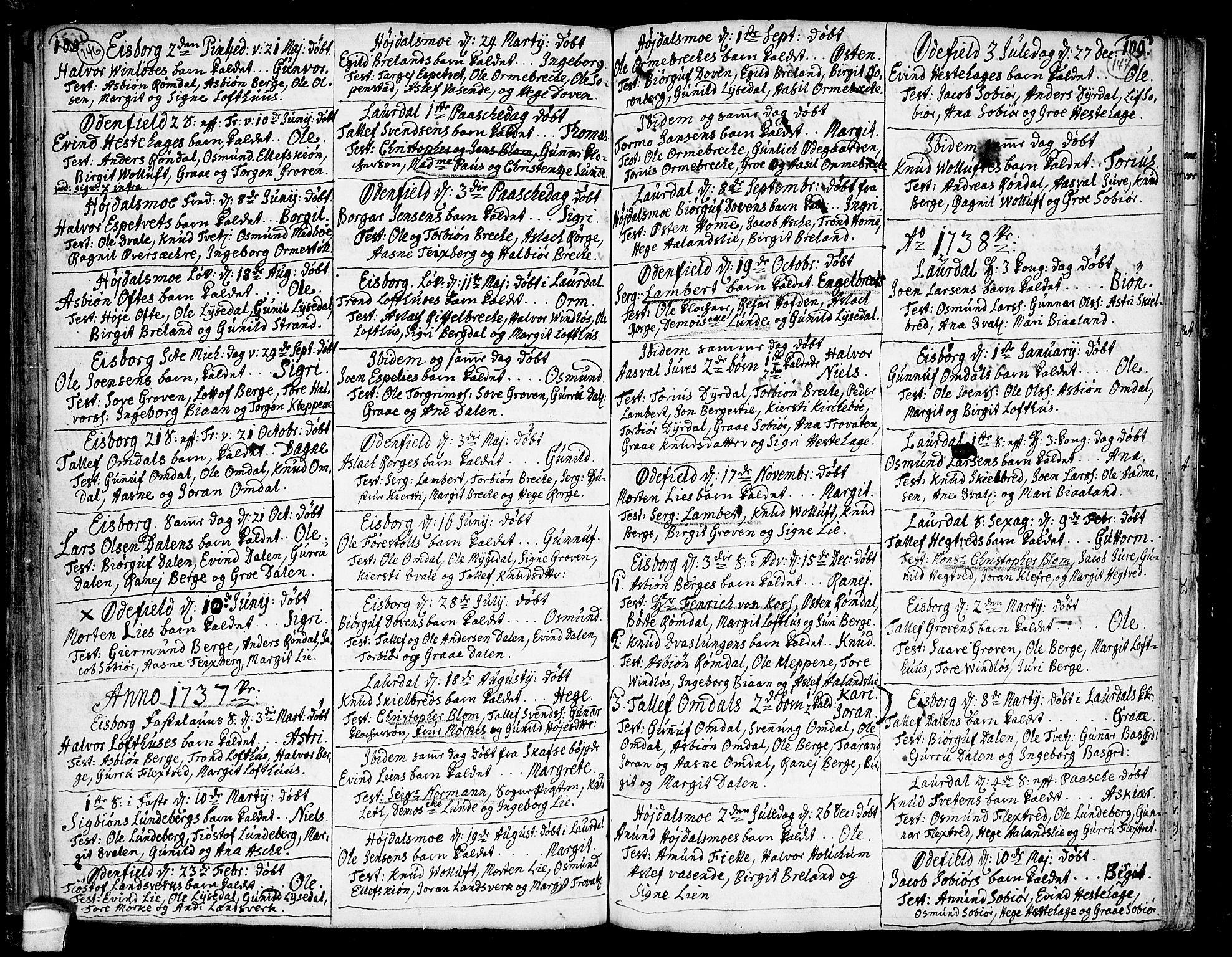 SAKO, Lårdal kirkebøker, F/Fa/L0002: Ministerialbok nr. I 2, 1734-1754, s. 146-147