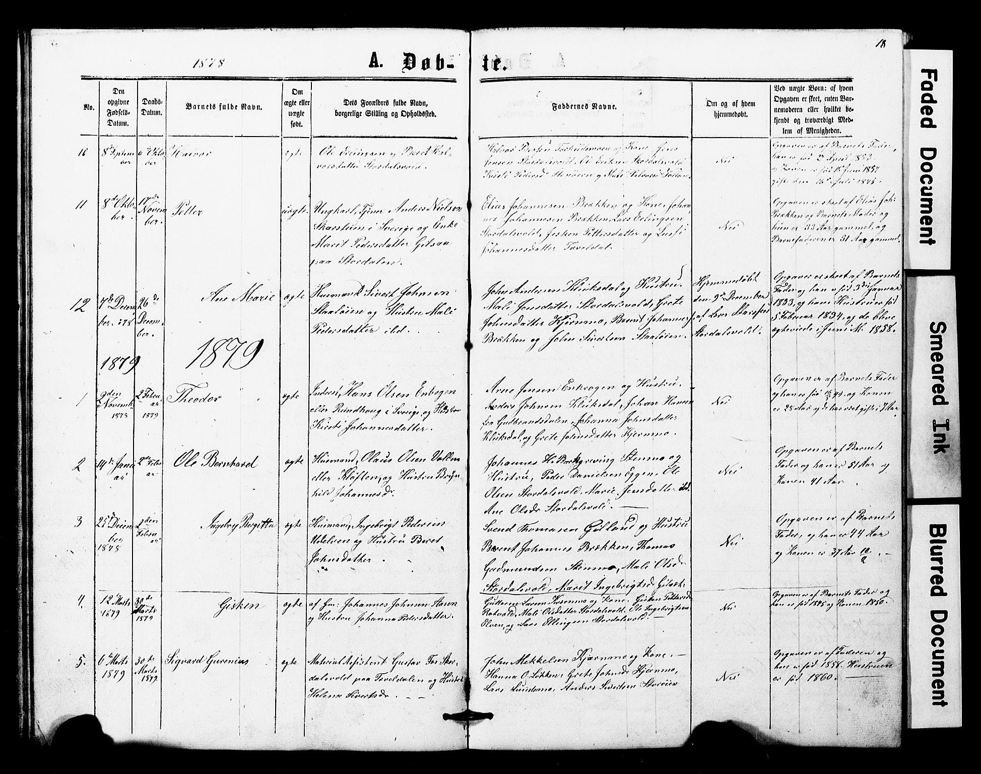 SAT, Ministerialprotokoller, klokkerbøker og fødselsregistre - Nord-Trøndelag, 707/L0052: Klokkerbok nr. 707C01, 1864-1897, s. 18