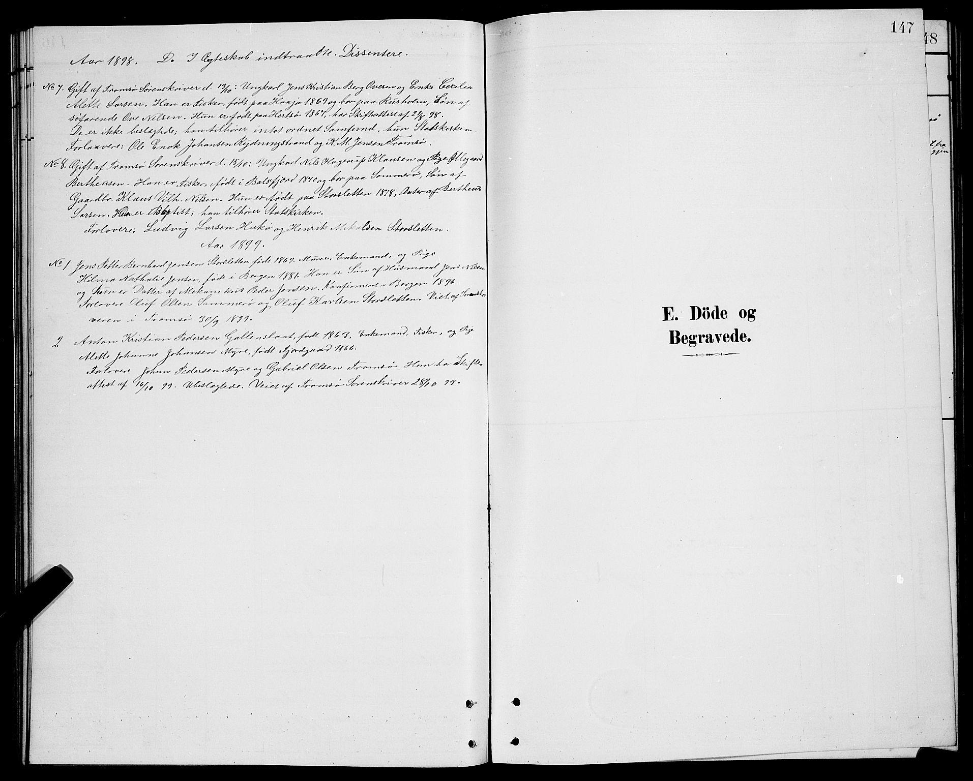 SATØ, Lenvik sokneprestembete, H/Ha: Klokkerbok nr. 21, 1884-1900, s. 147