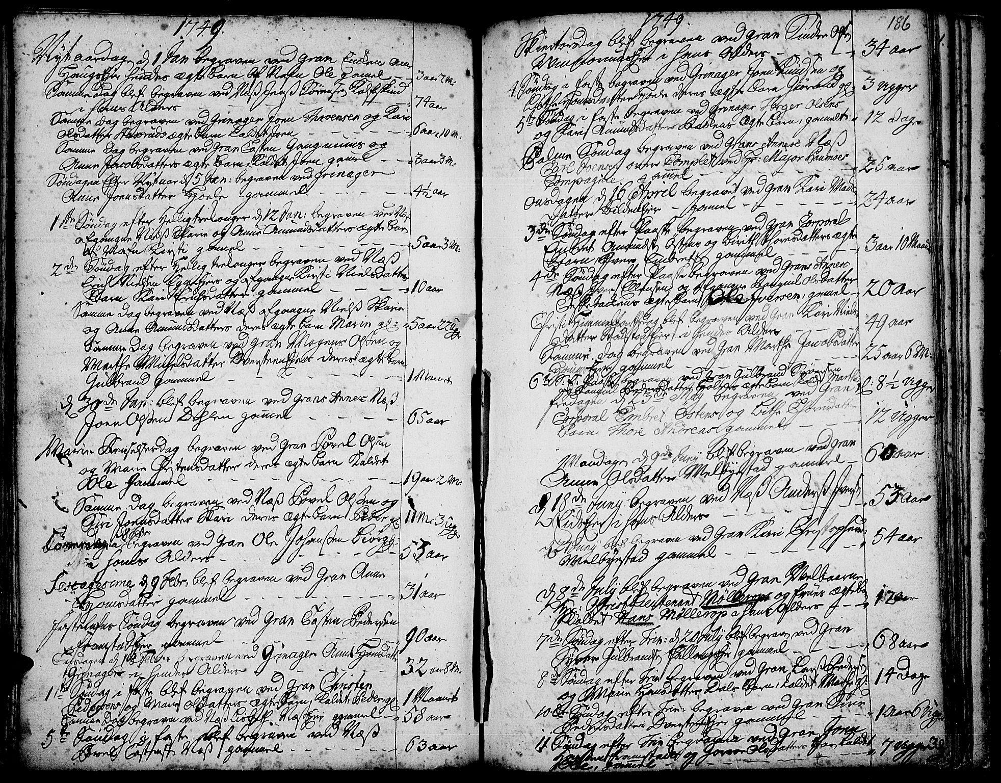 SAH, Gran prestekontor, Ministerialbok nr. 3, 1745-1758, s. 186
