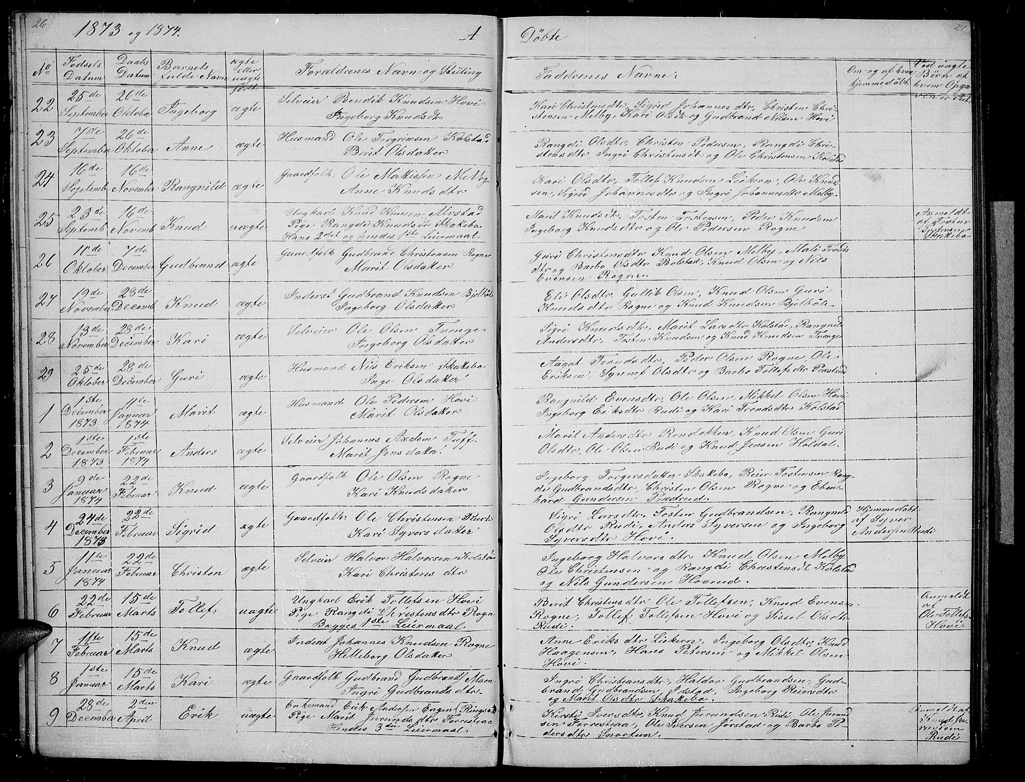 SAH, Øystre Slidre prestekontor, Klokkerbok nr. 3, 1866-1886, s. 26-27