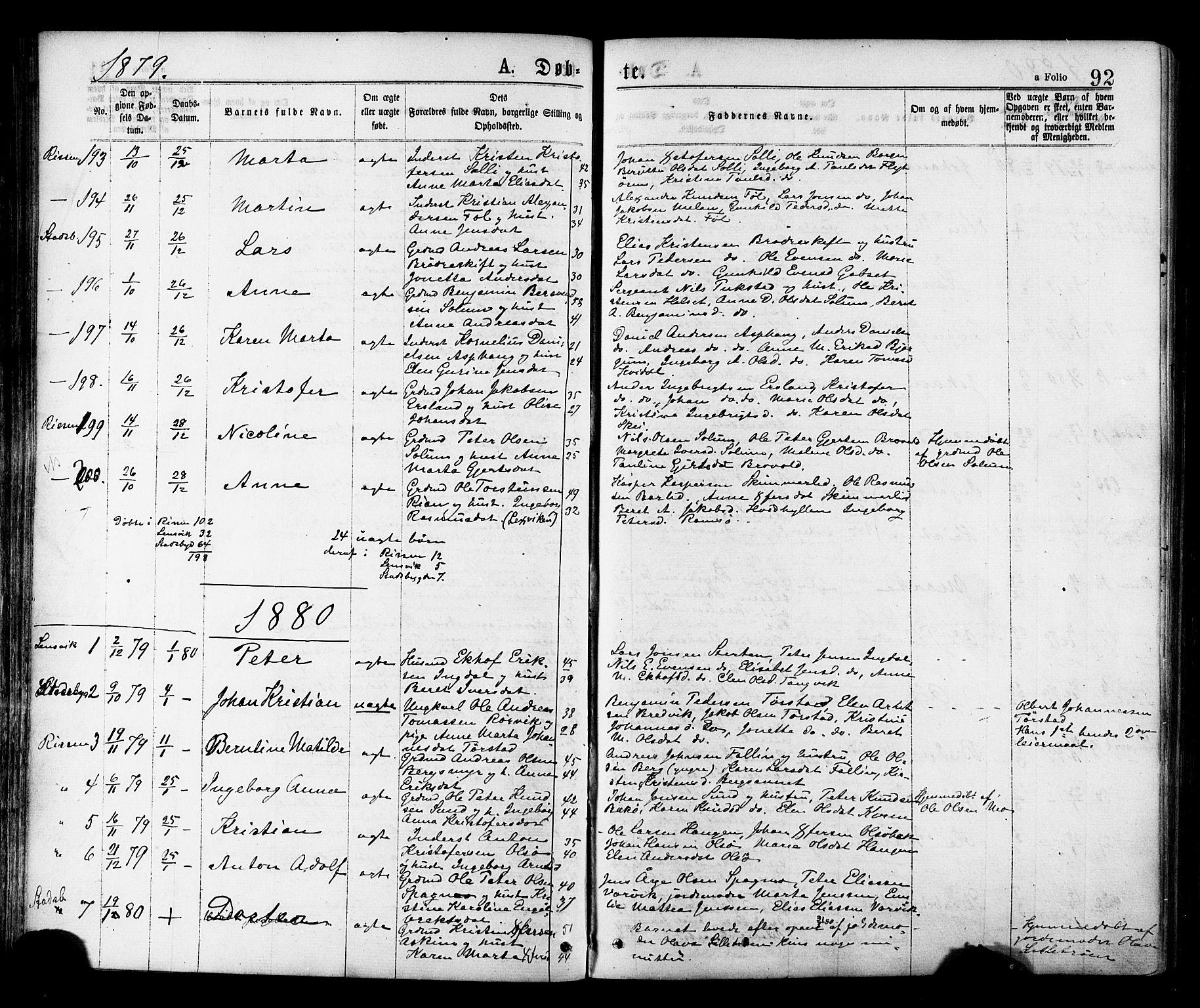 SAT, Ministerialprotokoller, klokkerbøker og fødselsregistre - Sør-Trøndelag, 646/L0613: Ministerialbok nr. 646A11, 1870-1884, s. 92