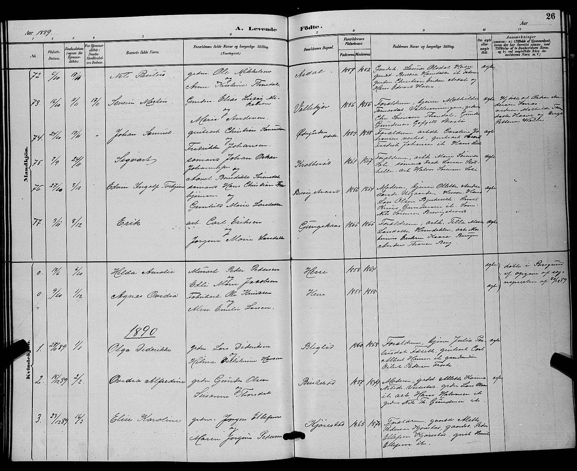 SAKO, Bamble kirkebøker, G/Ga/L0009: Klokkerbok nr. I 9, 1888-1900, s. 26