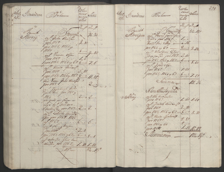 RA, Rentekammeret inntil 1814, Realistisk ordnet avdeling, Ol/L0023: [Gg 10]: Ekstraskatten, 23.09.1762. Helgeland (restanseregister), 1767-1772, s. 234