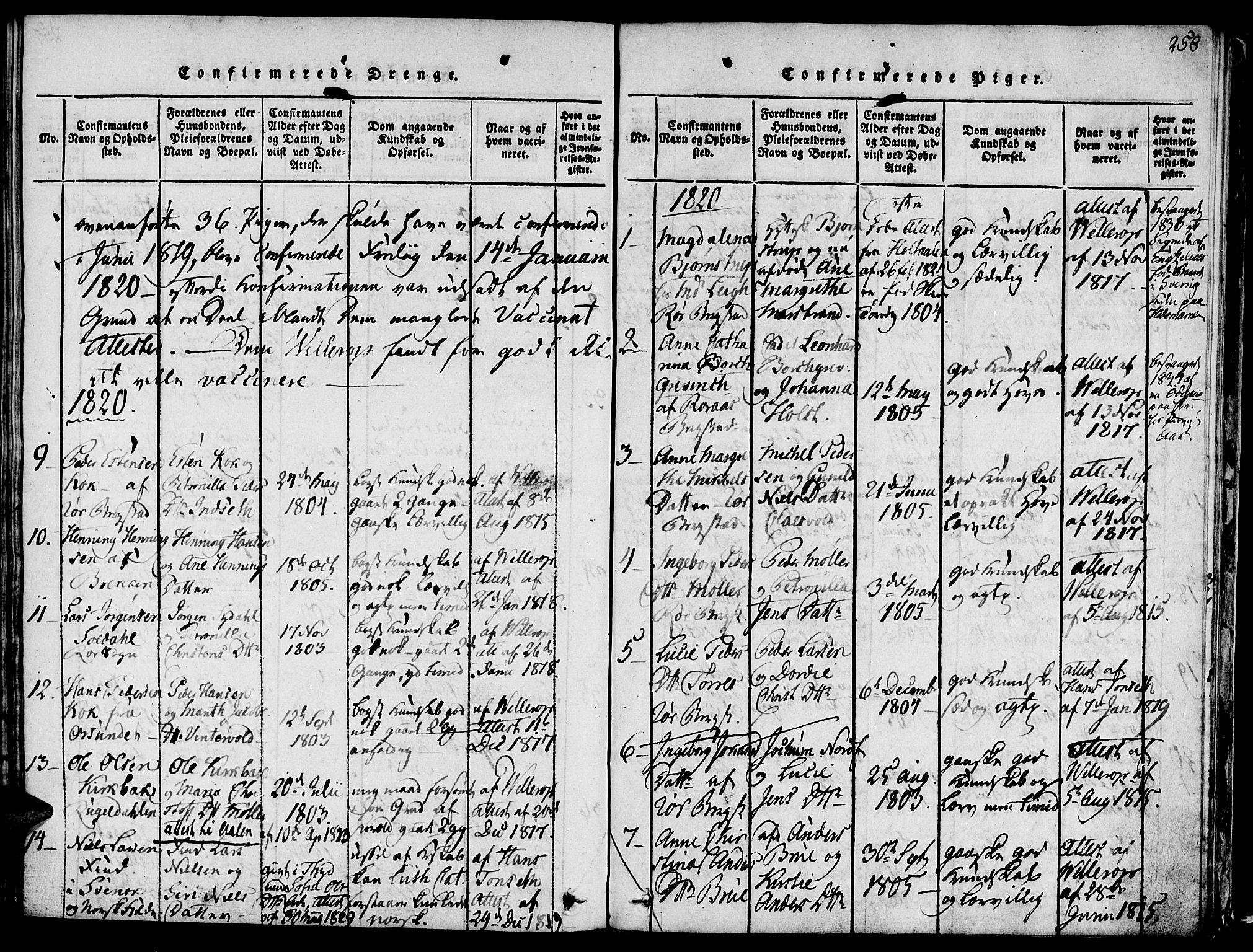 SAT, Ministerialprotokoller, klokkerbøker og fødselsregistre - Sør-Trøndelag, 681/L0929: Ministerialbok nr. 681A07, 1817-1828, s. 258