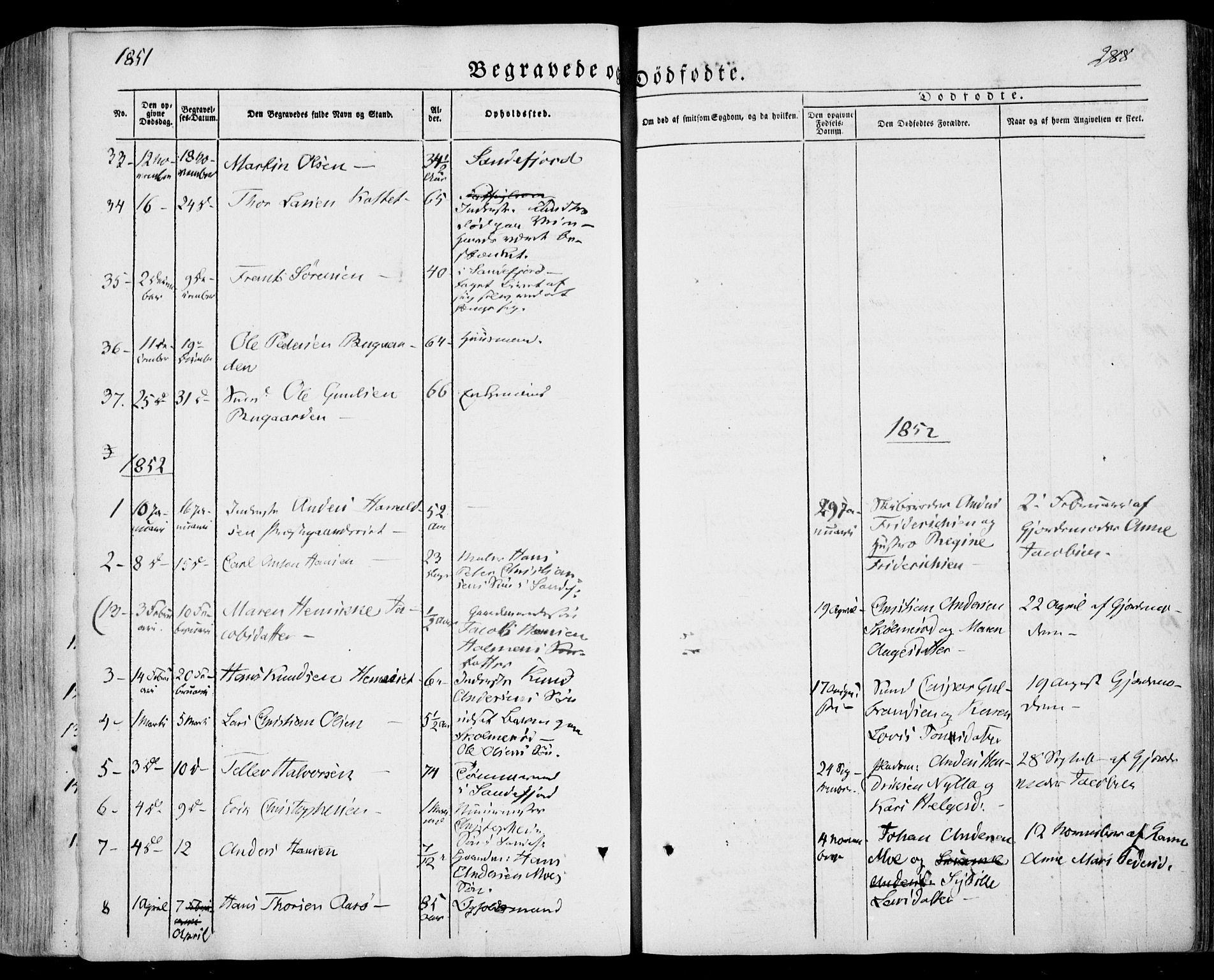 SAKO, Sandar kirkebøker, F/Fa/L0006: Ministerialbok nr. 6, 1847-1860, s. 288