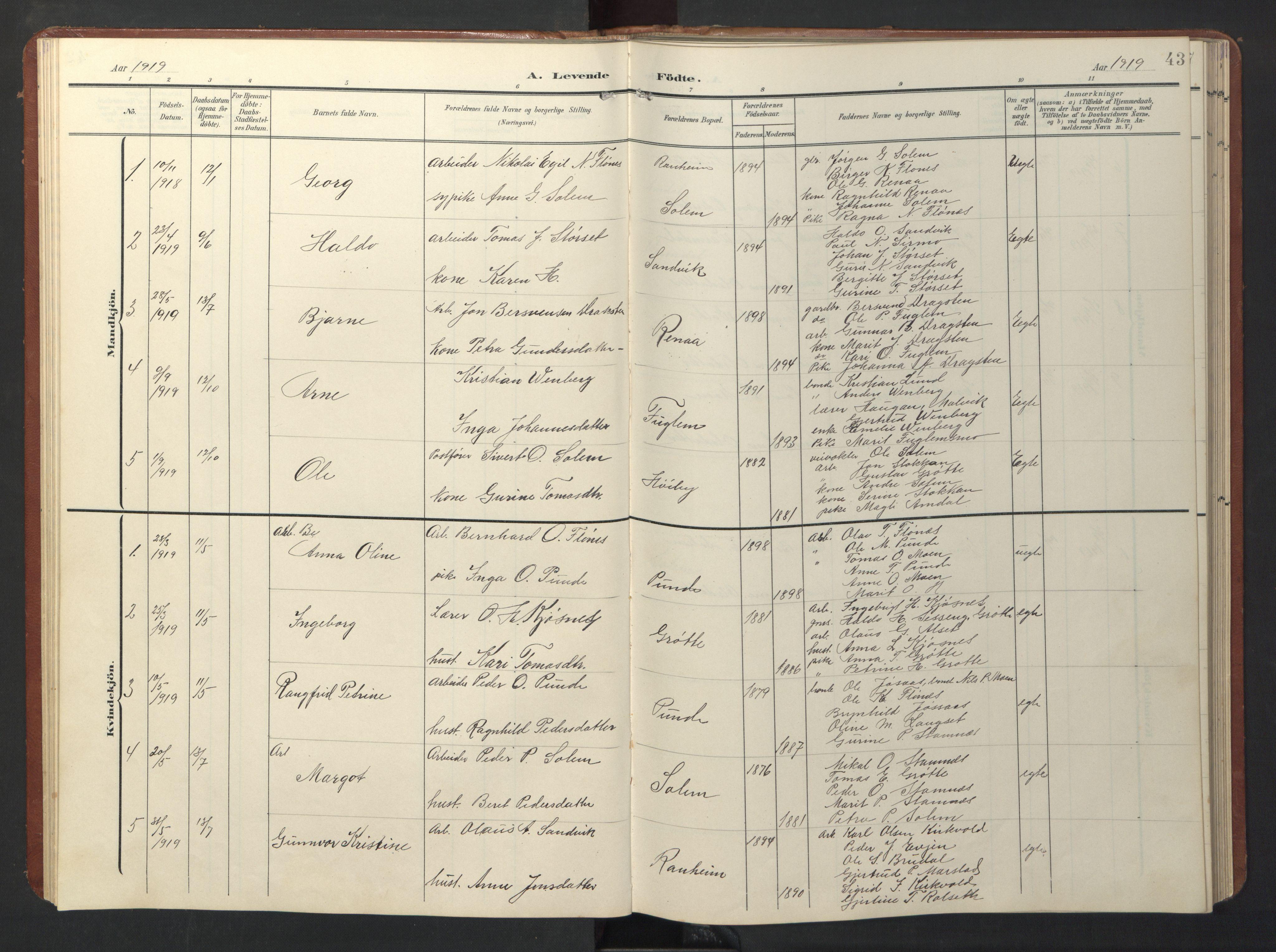 SAT, Ministerialprotokoller, klokkerbøker og fødselsregistre - Sør-Trøndelag, 696/L1161: Klokkerbok nr. 696C01, 1902-1950, s. 43