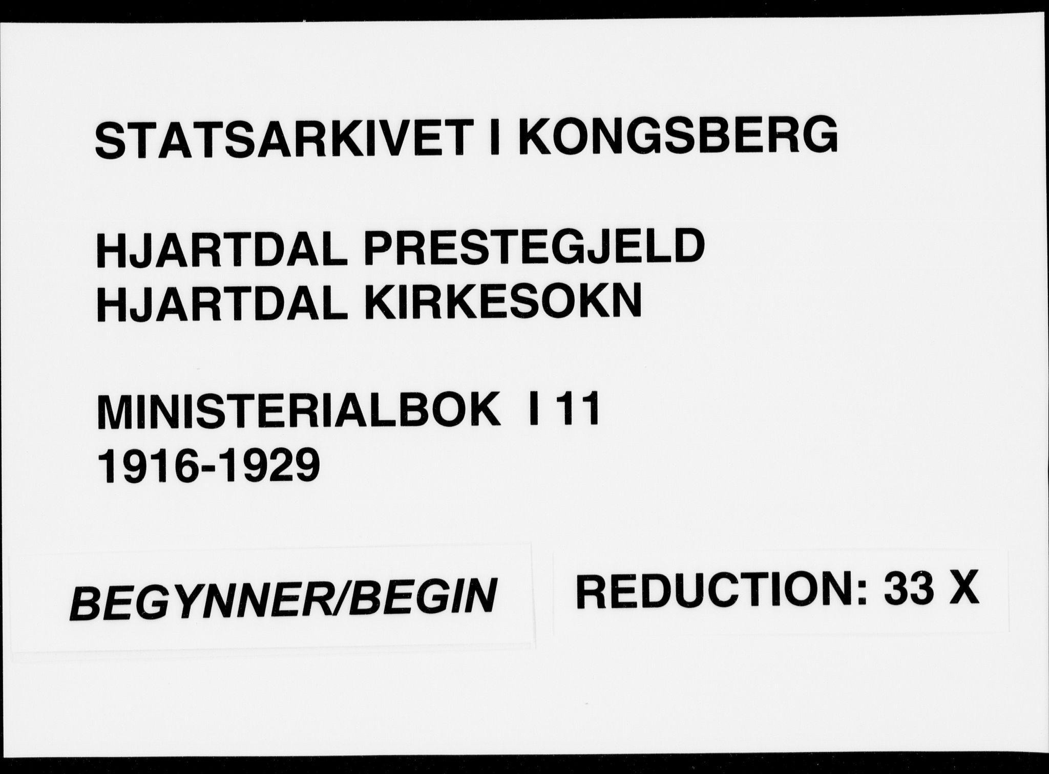 SAKO, Hjartdal kirkebøker, F/Fa/L0011: Ministerialbok nr. I 11, 1916-1929