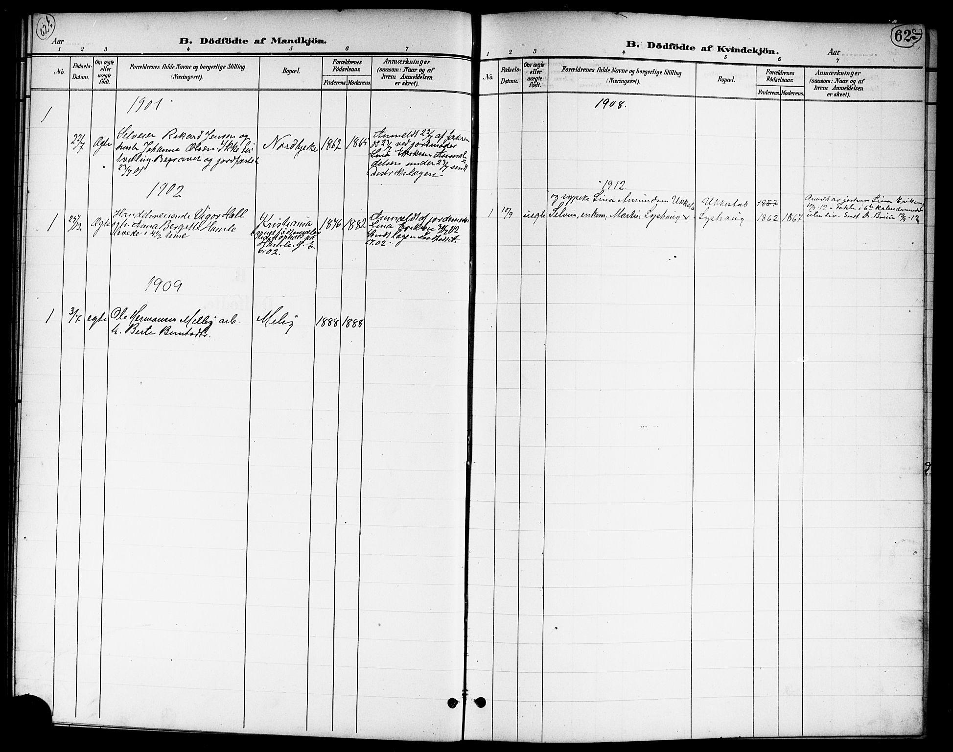 SAO, Nannestad prestekontor Kirkebøker, G/Ga/L0002: Klokkerbok nr. I 2, 1901-1913, s. 62b-62c