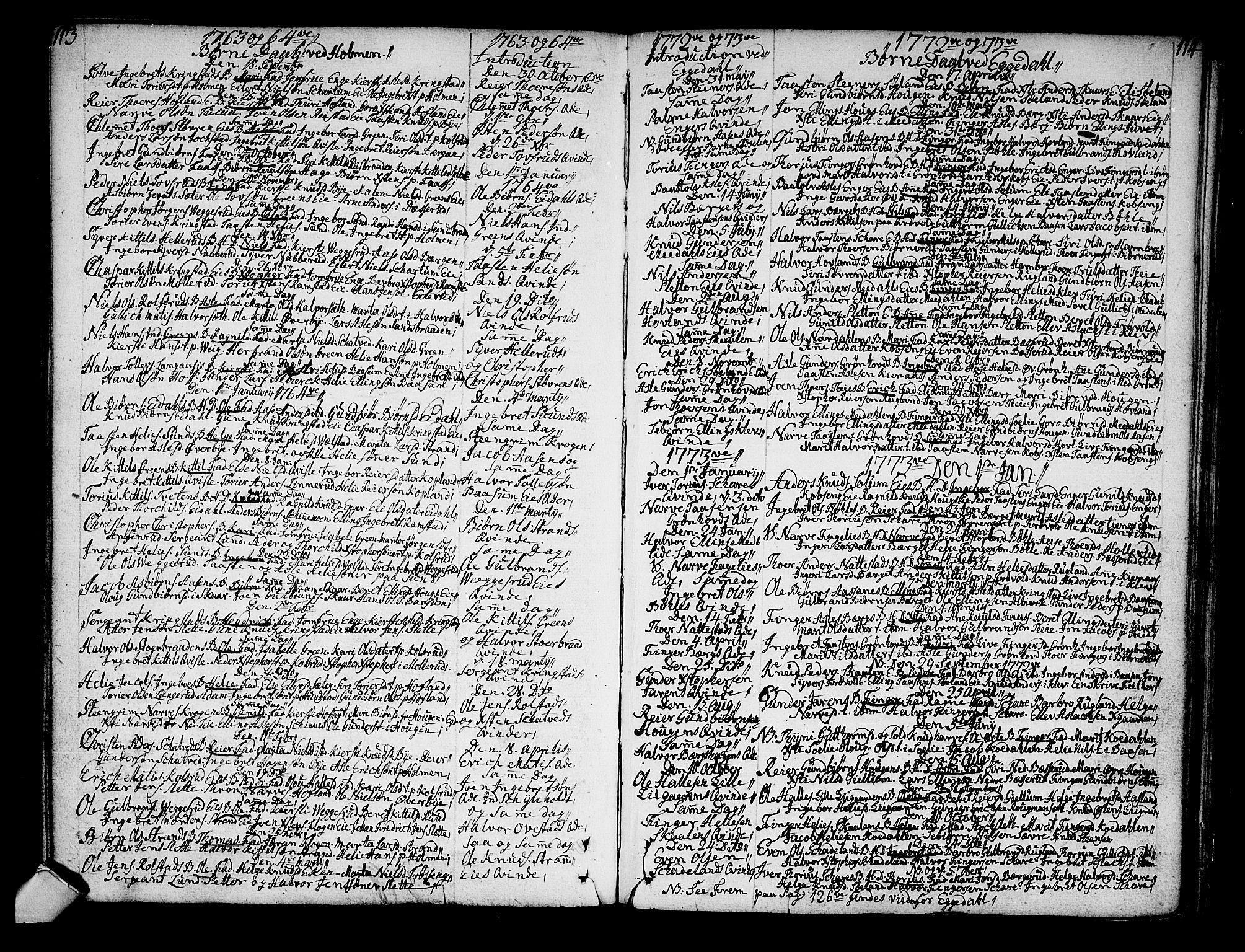 SAKO, Sigdal kirkebøker, F/Fa/L0001: Ministerialbok nr. I 1, 1722-1777, s. 113-114