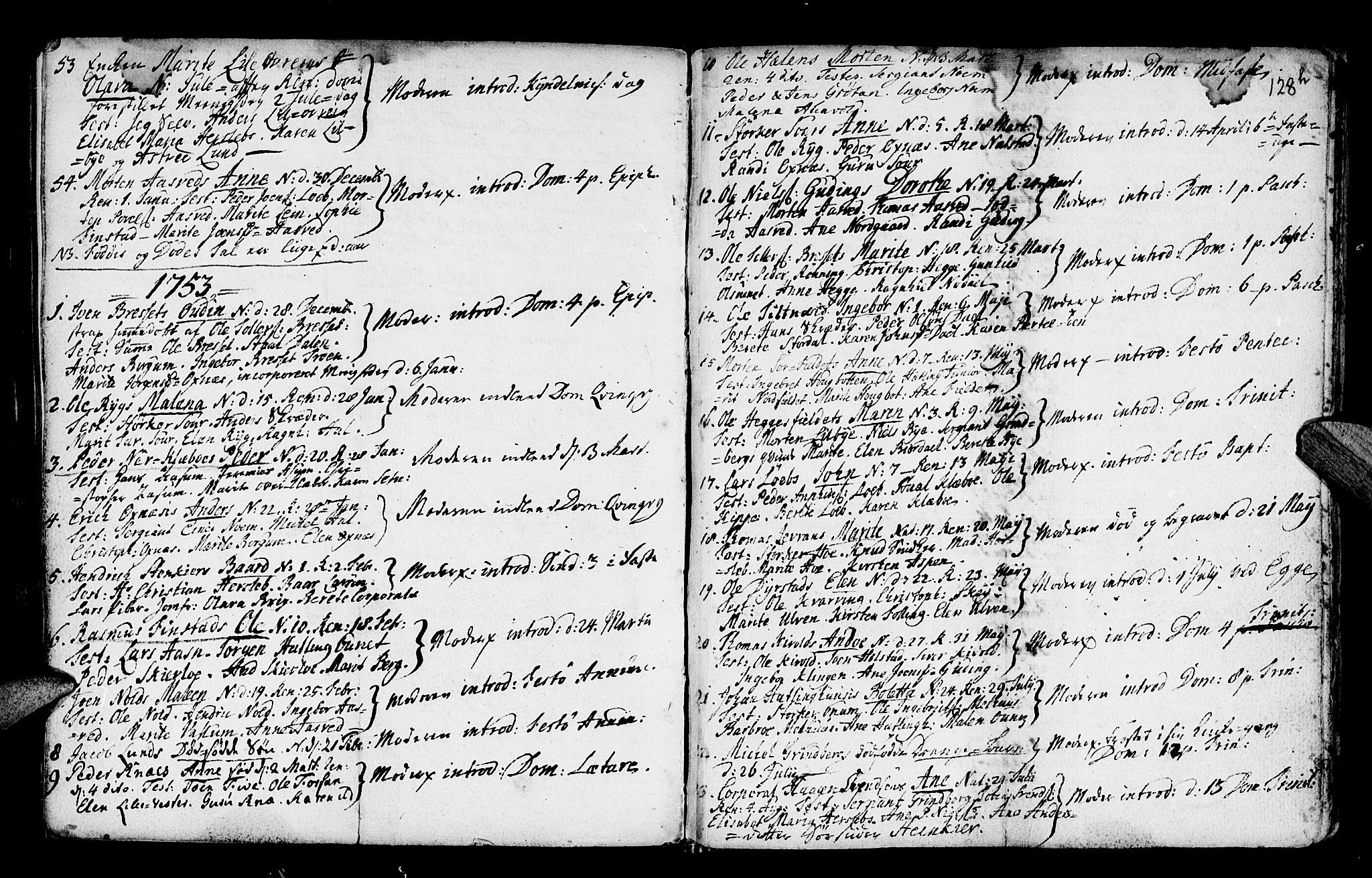 SAT, Ministerialprotokoller, klokkerbøker og fødselsregistre - Nord-Trøndelag, 746/L0439: Ministerialbok nr. 746A01, 1688-1759, s. 128h