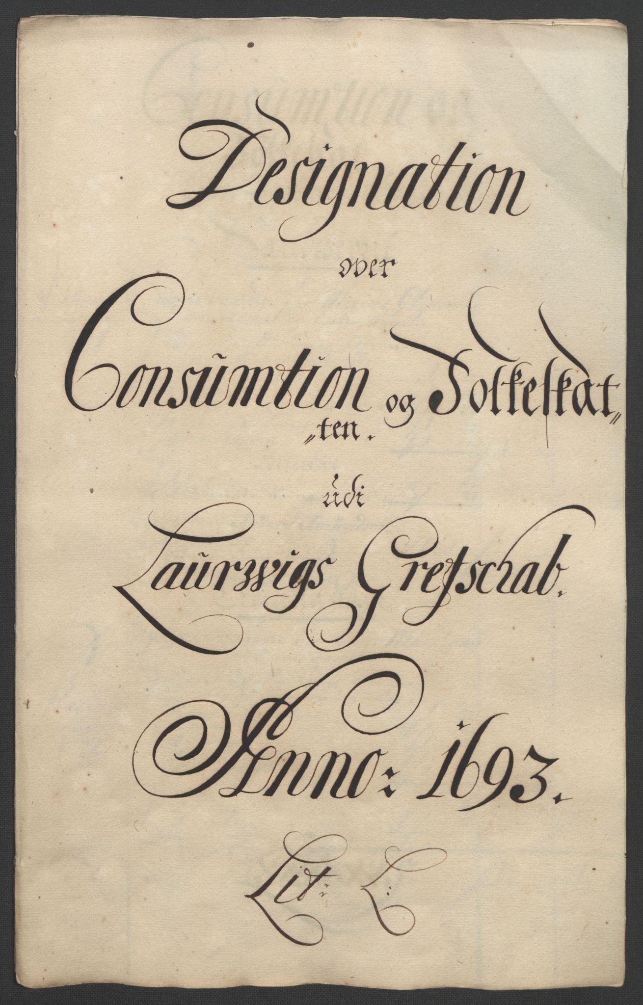 RA, Rentekammeret inntil 1814, Reviderte regnskaper, Fogderegnskap, R33/L1974: Fogderegnskap Larvik grevskap, 1693-1695, s. 45