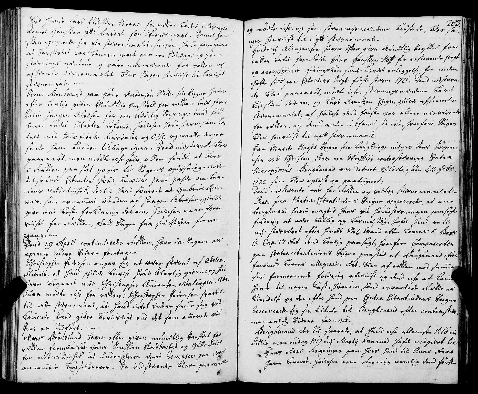 SAT, Helgeland sorenskriveri, 1/1A/L0005: Tingbok 6, 1717-1723, s. 282b-283a