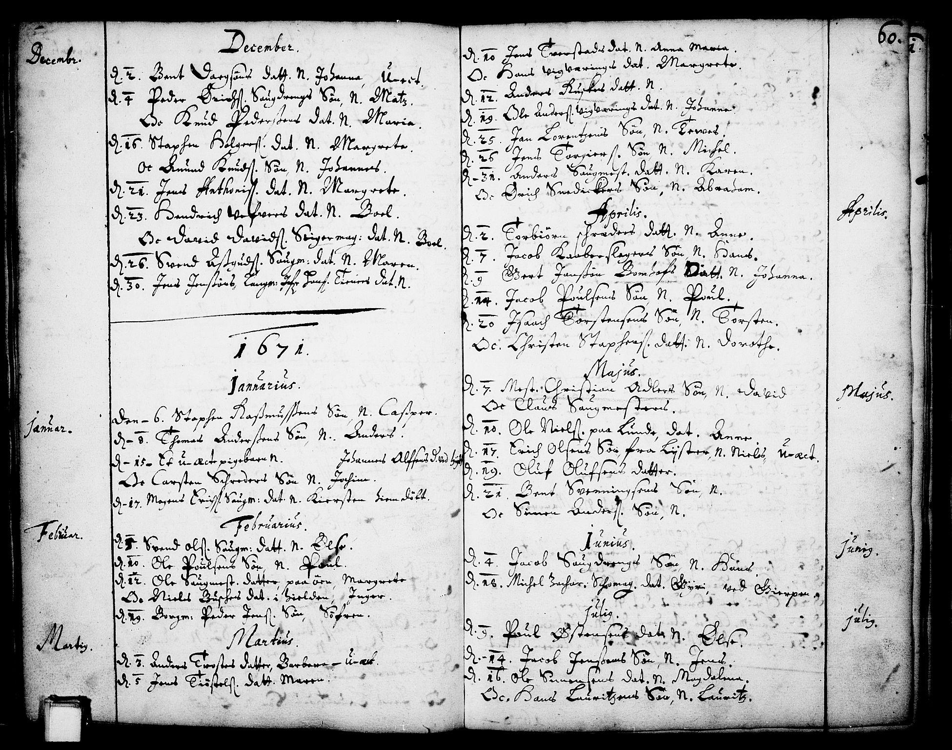 SAKO, Skien kirkebøker, F/Fa/L0001: Ministerialbok nr. 1, 1659-1679, s. 60