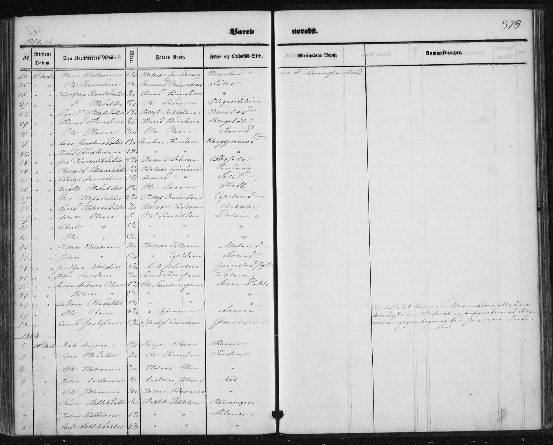 SAKO, Nissedal kirkebøker, F/Fa/L0003: Ministerialbok nr. I 3, 1846-1870, s. 878-879