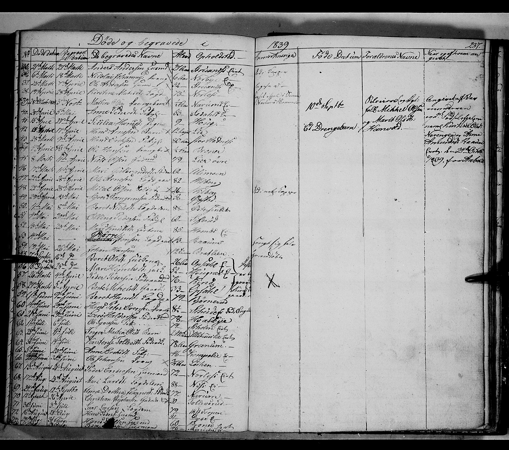SAH, Land prestekontor, Klokkerbok nr. 2, 1833-1849, s. 237