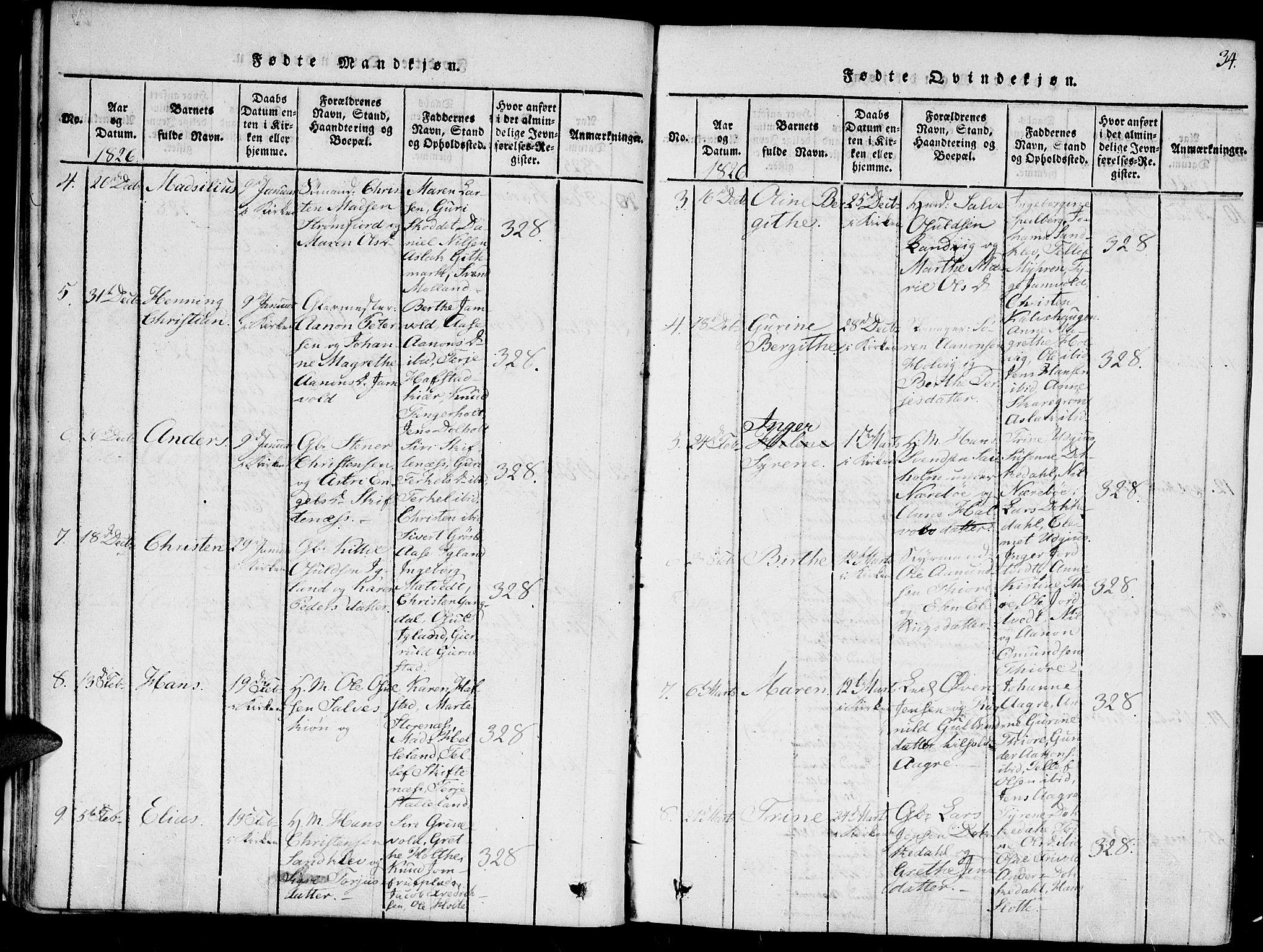 SAK, Hommedal sokneprestkontor, F/Fa/Fab/L0003: Ministerialbok nr. A 3, 1815-1848, s. 34
