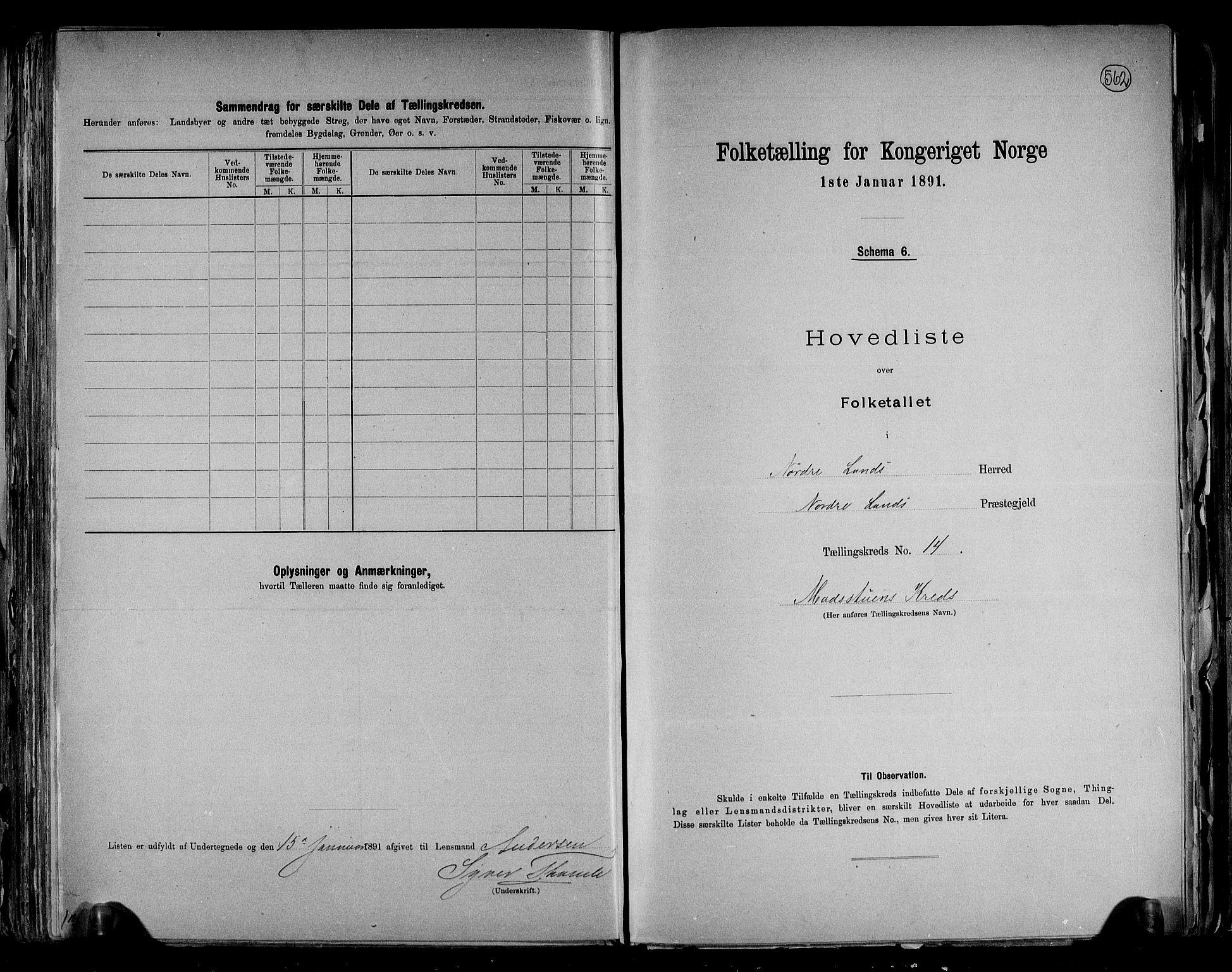 RA, Folketelling 1891 for 0538 Nordre Land herred, 1891, s. 30