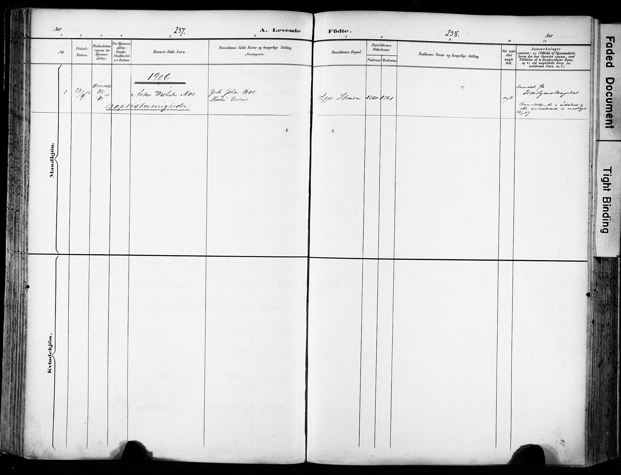 SAT, Ministerialprotokoller, klokkerbøker og fødselsregistre - Sør-Trøndelag, 606/L0301: Ministerialbok nr. 606A16, 1894-1907, s. 237-238