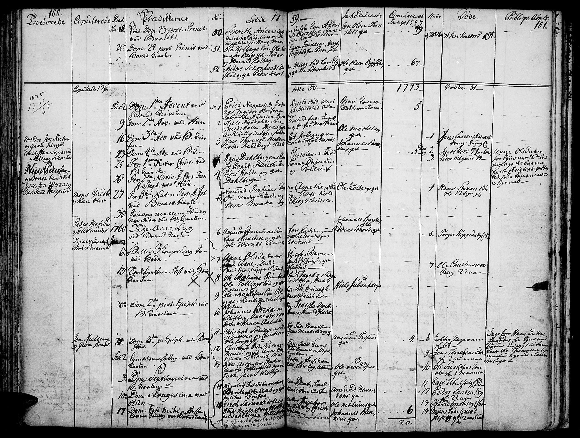 SAH, Vardal prestekontor, H/Ha/Haa/L0002: Ministerialbok nr. 2, 1748-1776, s. 100-101