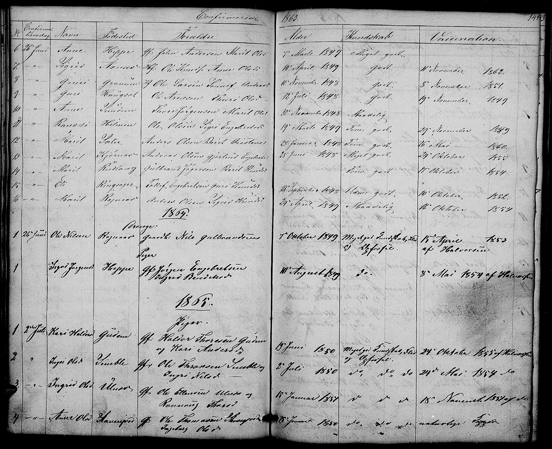 SAH, Nord-Aurdal prestekontor, Klokkerbok nr. 4, 1842-1882, s. 141