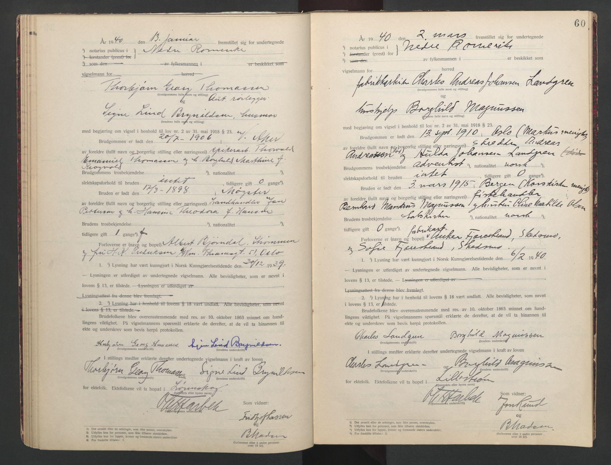 SAO, Nedre Romerike sorenskriveri, L/Lb/L0002: Vigselsbok - borgerlige vielser, 1935-1942, s. 60
