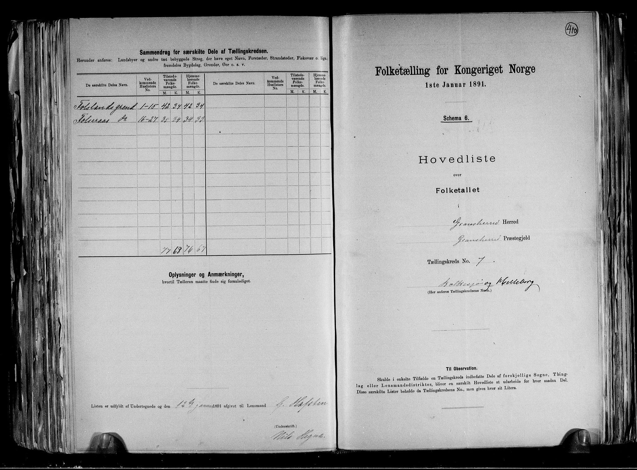 RA, Folketelling 1891 for 0824 Gransherad herred, 1891, s. 17