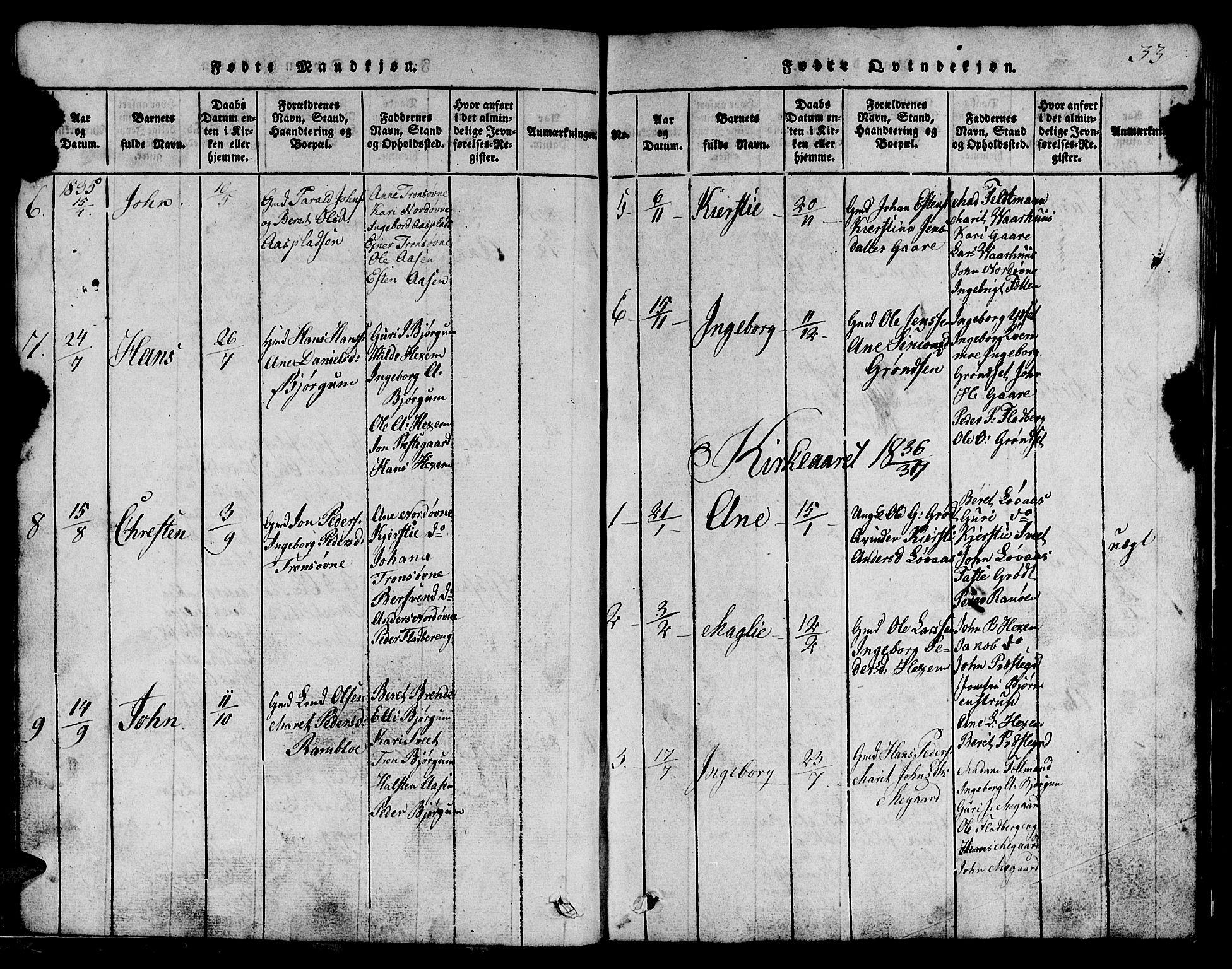 SAT, Ministerialprotokoller, klokkerbøker og fødselsregistre - Sør-Trøndelag, 685/L0976: Klokkerbok nr. 685C01, 1817-1878, s. 33