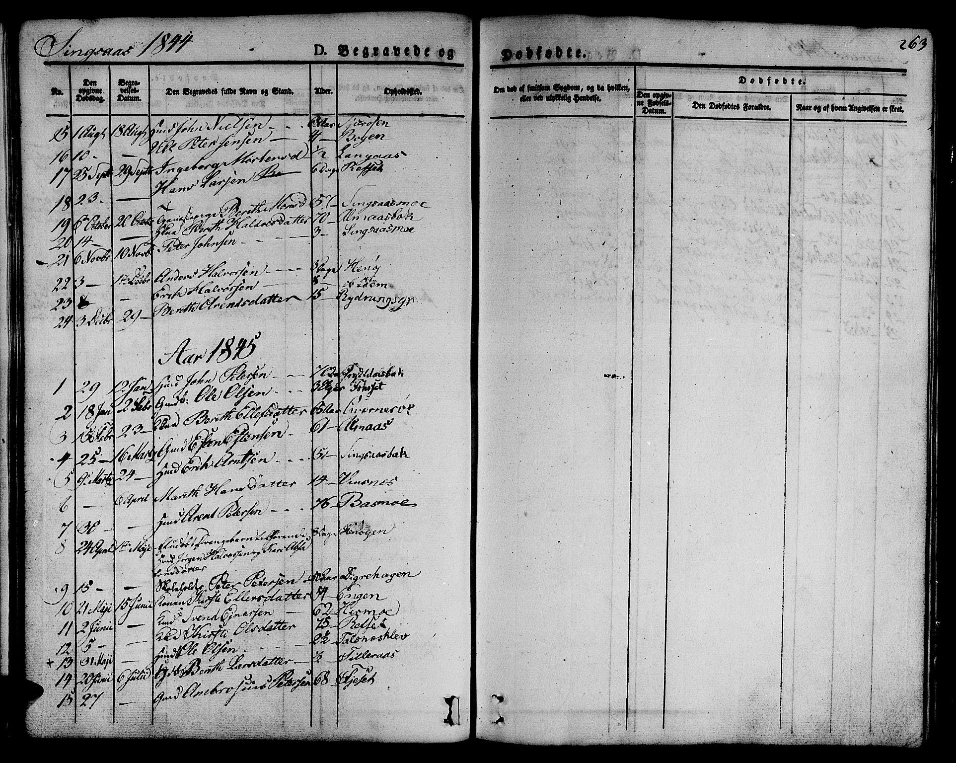 SAT, Ministerialprotokoller, klokkerbøker og fødselsregistre - Sør-Trøndelag, 685/L0961: Ministerialbok nr. 685A05 /2, 1829-1845, s. 263